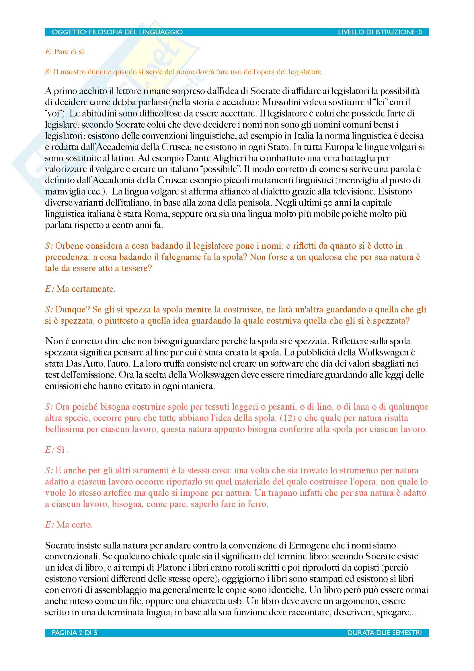 Filosofia del linguaggio Pag. 2