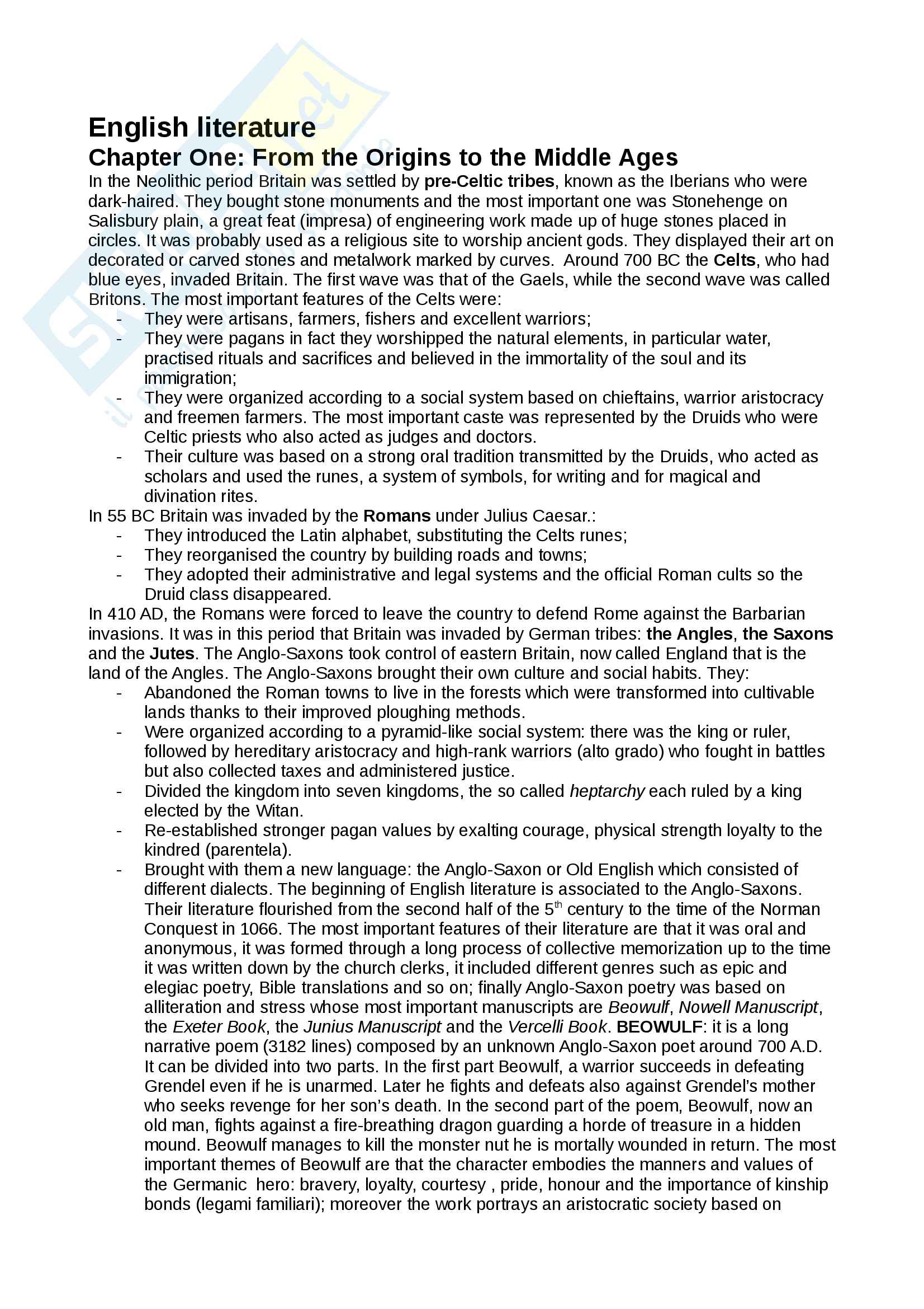 Riassunto esame Letteratura Inglese, Prof. Cavone, libro consigliato Inglese Manuale per prove scritte e orali, Edises; English Literature: from the beginning to contemporary literature