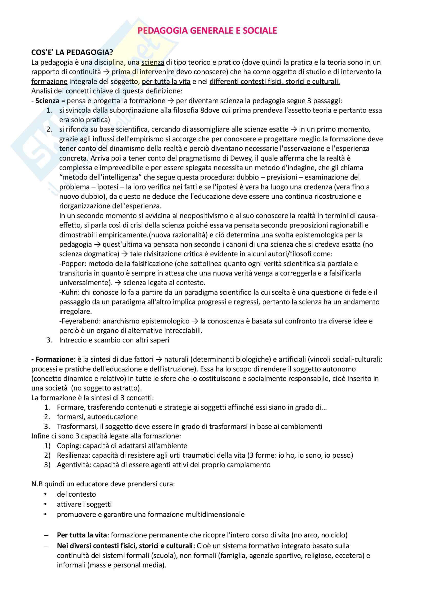 Pedagogia generale e sociale: riassunto di tutto il materiale che serve all'esame
