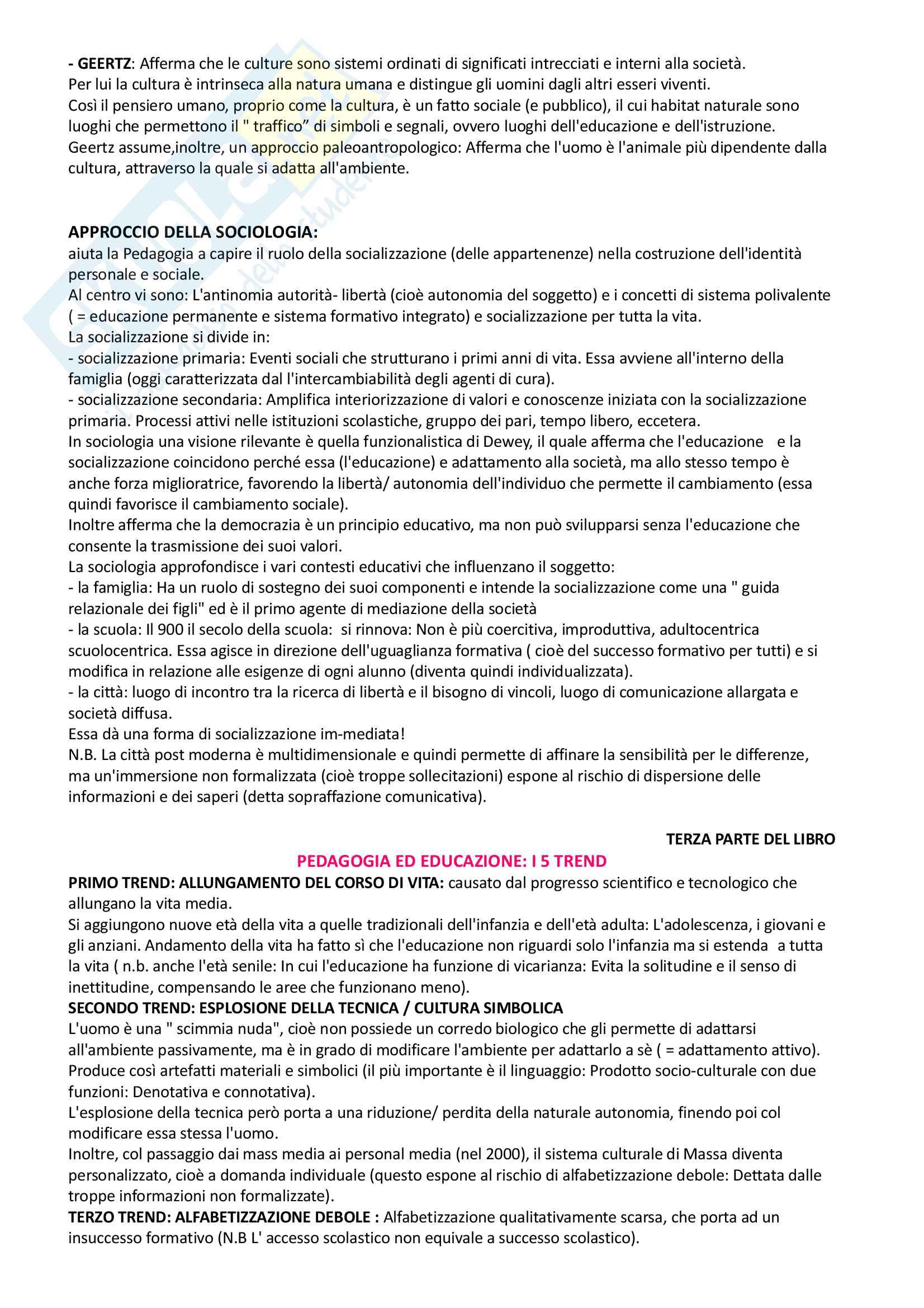 Pedagogia generale e sociale: riassunto di tutto il materiale che serve all'esame Pag. 11