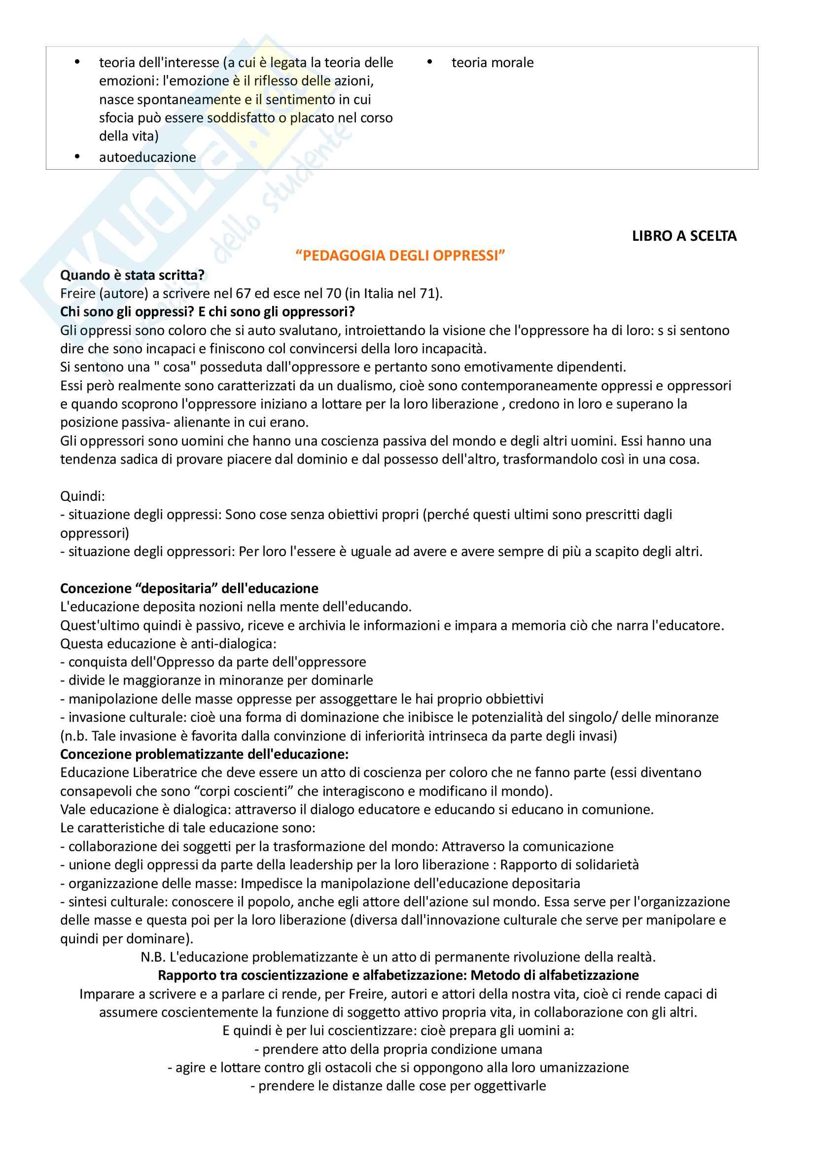 Pedagogia generale e sociale: riassunto di tutto il materiale che serve all'esame Pag. 16