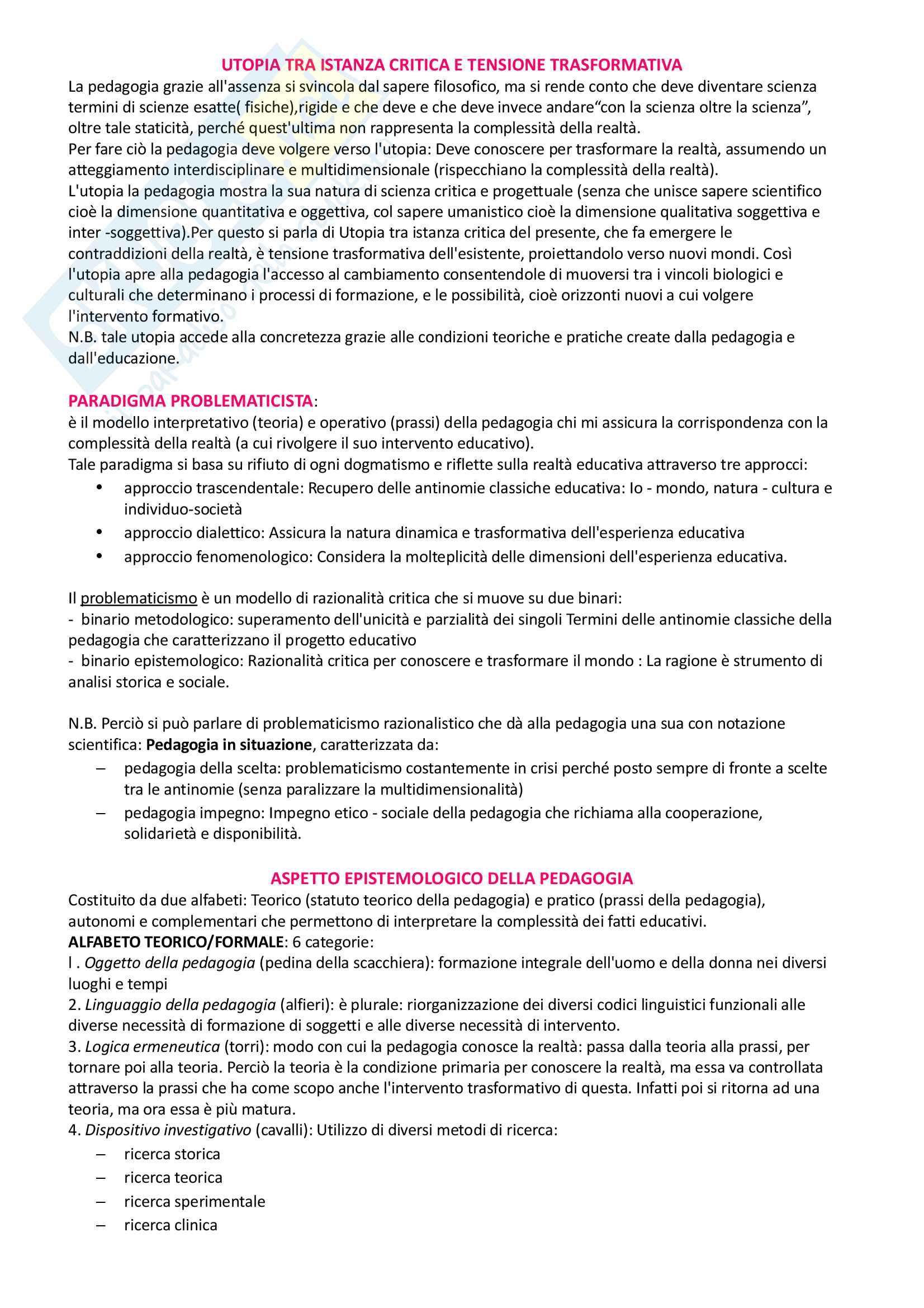 Pedagogia generale e sociale: riassunto di tutto il materiale che serve all'esame Pag. 2
