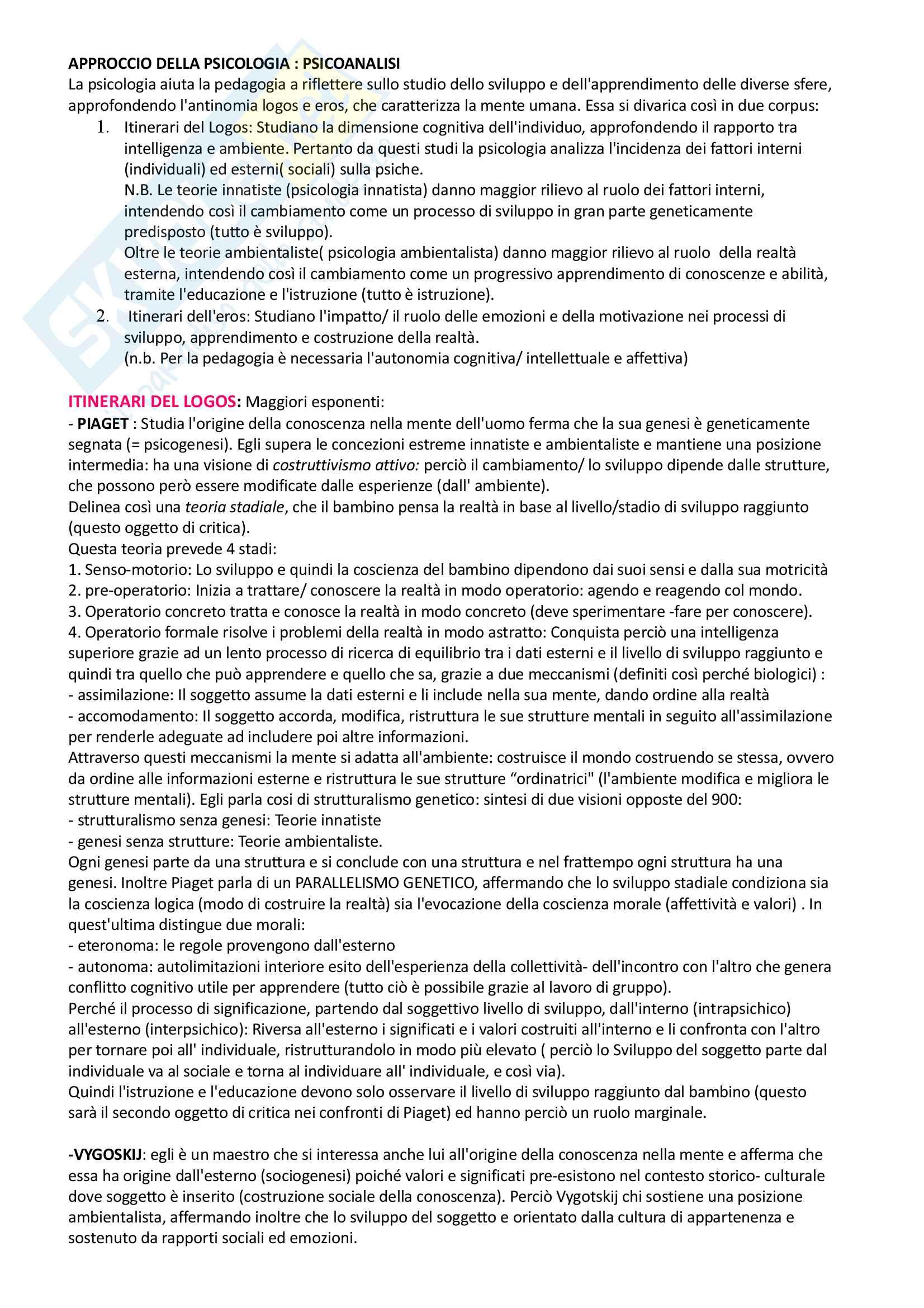Pedagogia generale e sociale: riassunto di tutto il materiale che serve all'esame Pag. 6