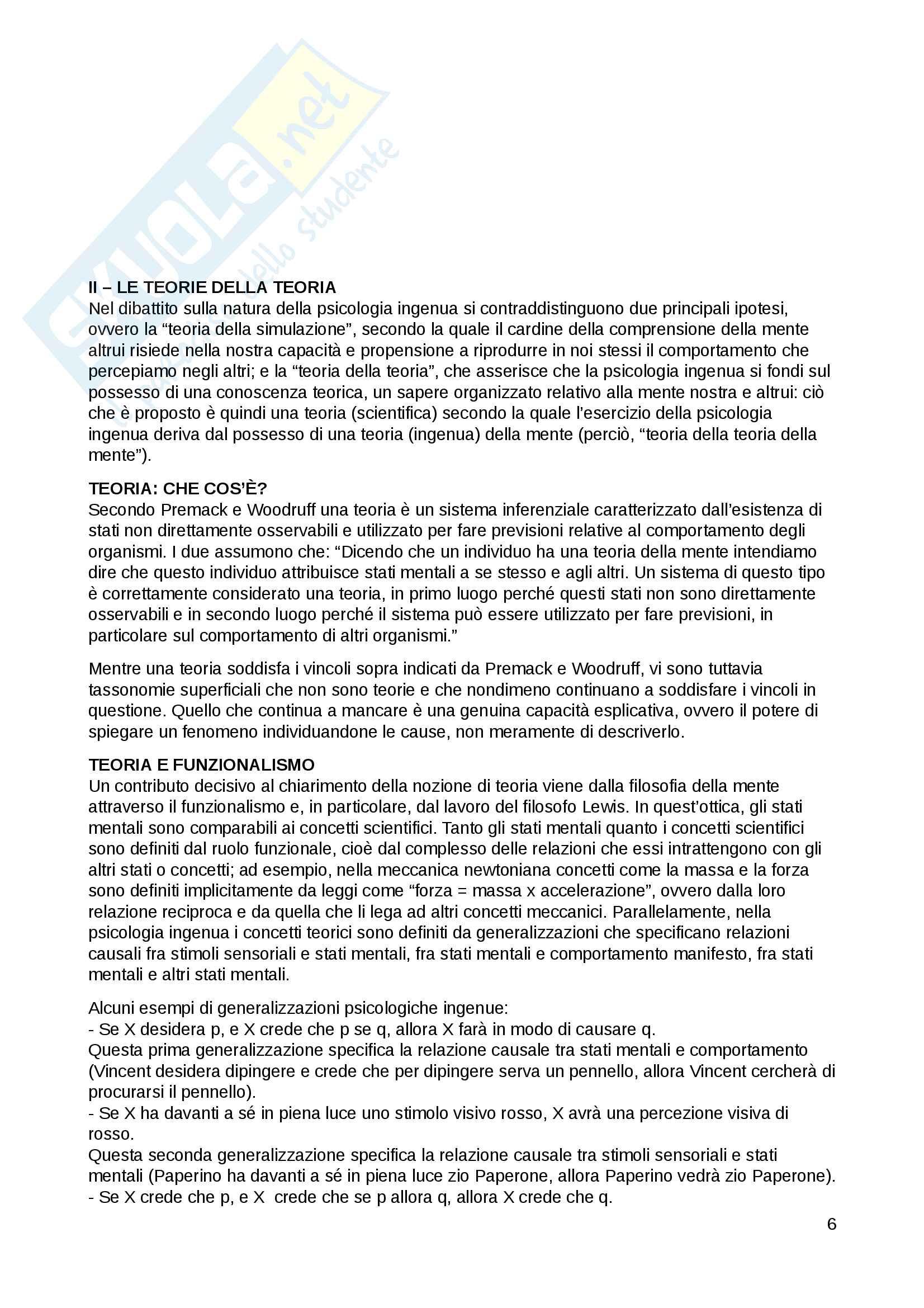 """Riassunto Filosofia dei Processi Cognitivi, prof. Andrea Velardi, libro consigliato """"Psicologi per natura"""", Meini Pag. 6"""