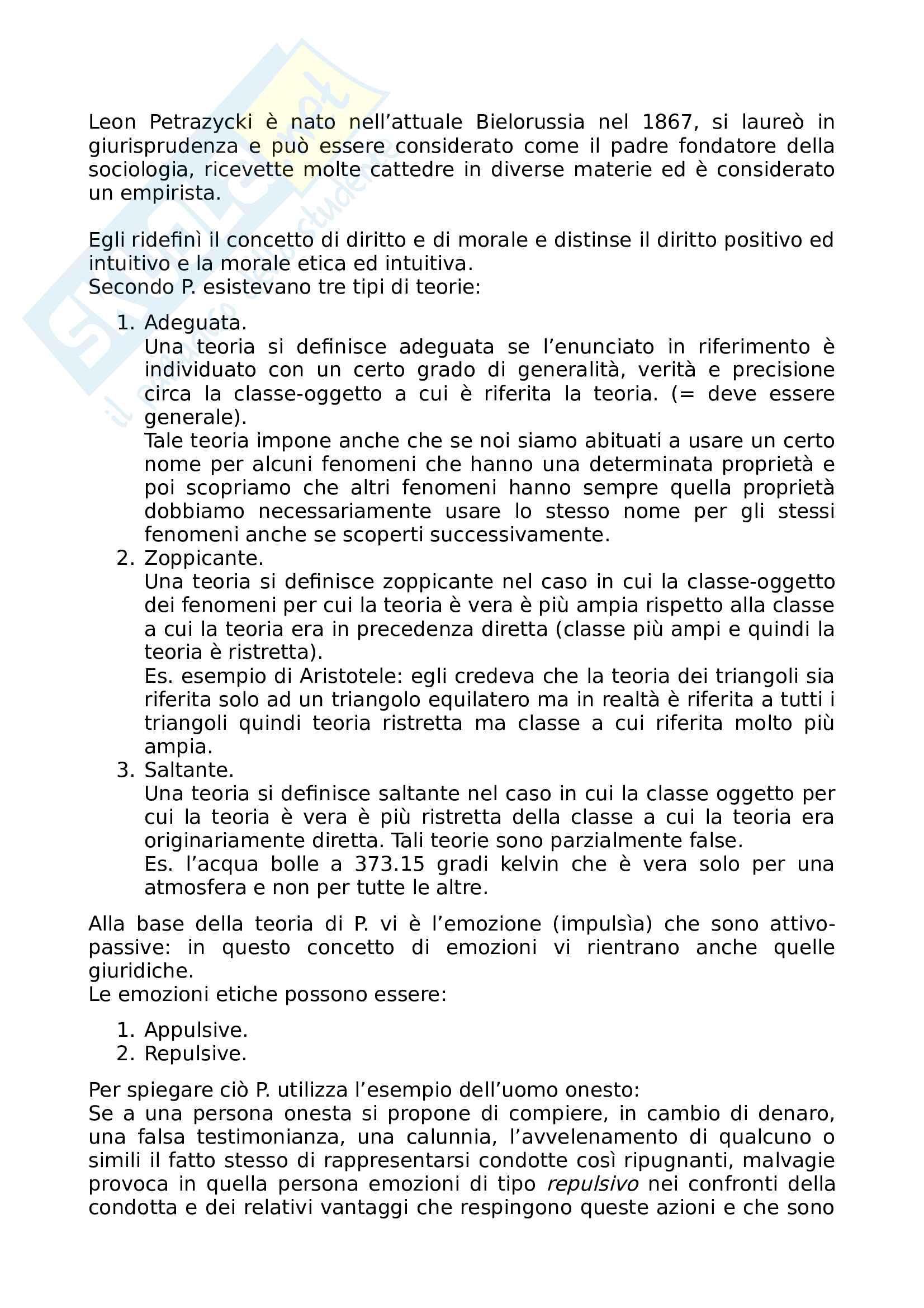Riassunto esame sociologia del diritto, prof. Fittipaldi, libro consigliato Psicologia giuridica e realismo: Leon Petrazychi, Fittipaldi