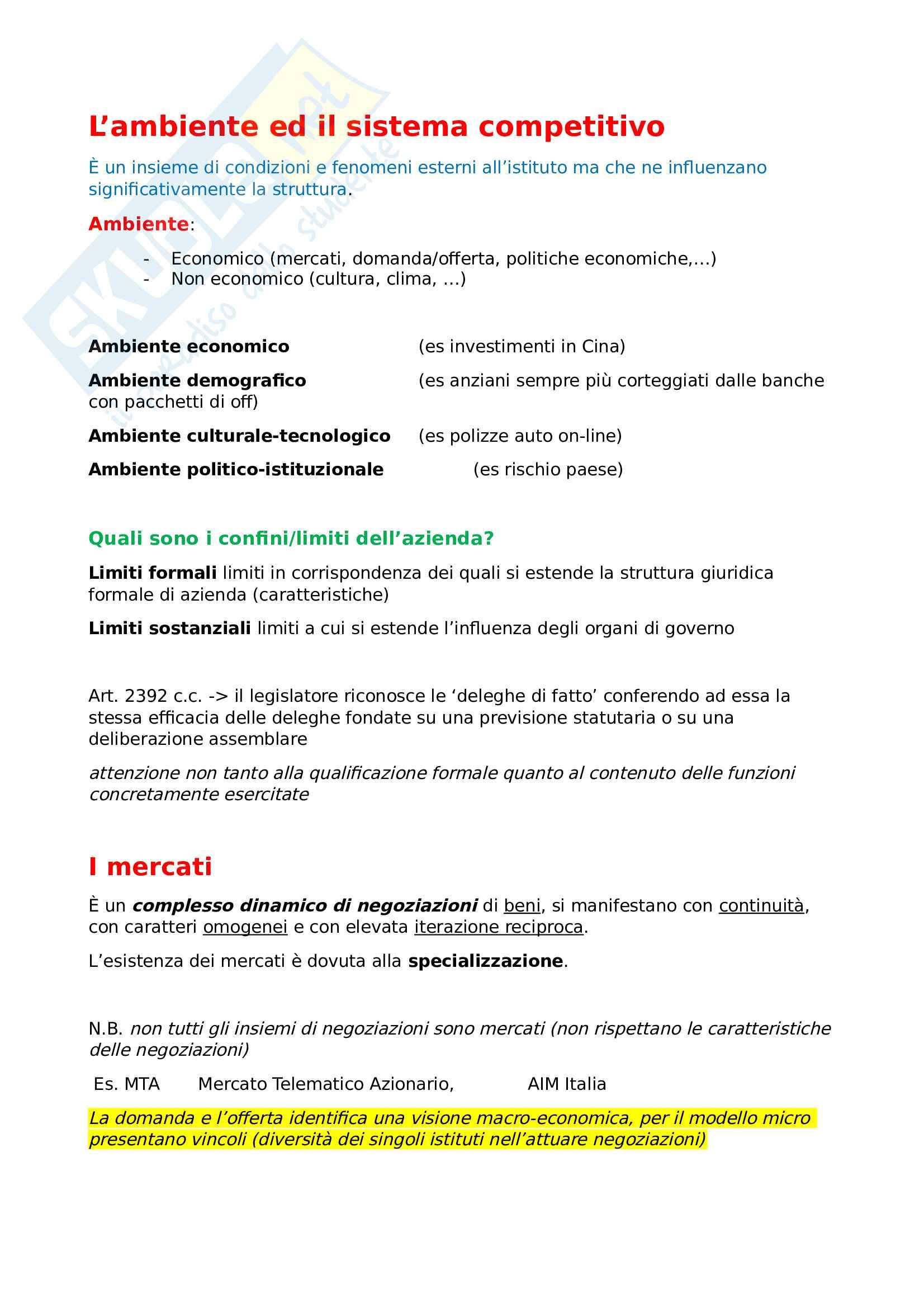 Economia Aziendale - dal Sistema Competitivo alla Pubblica amministrazione (pt 2)