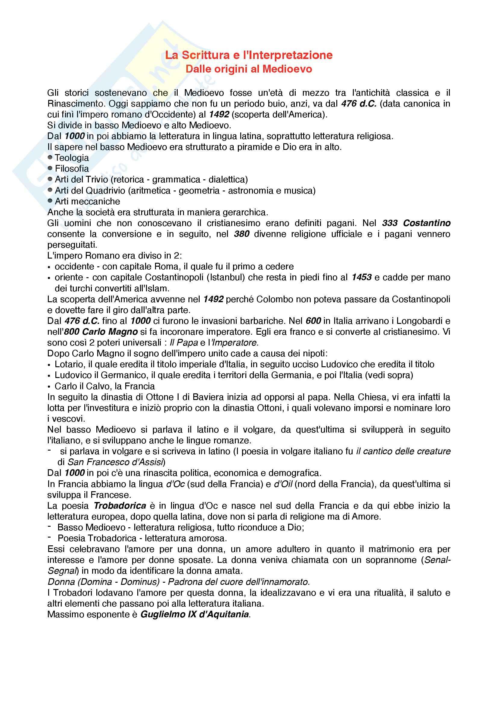 Riassunto esame Letteratura italiana, prof. Pellizzari, libro consigliato La scrittura e l'interpretazione -dalle origini al medioevo- volume rosso
