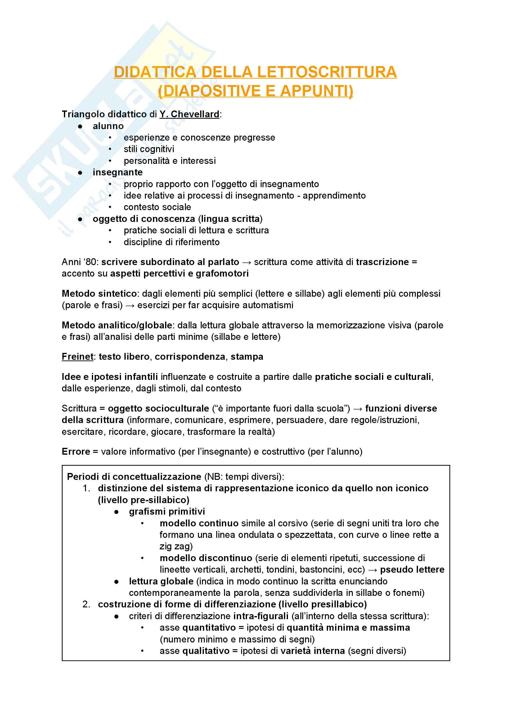 Appunti - Didattica della lettura e della scrittura