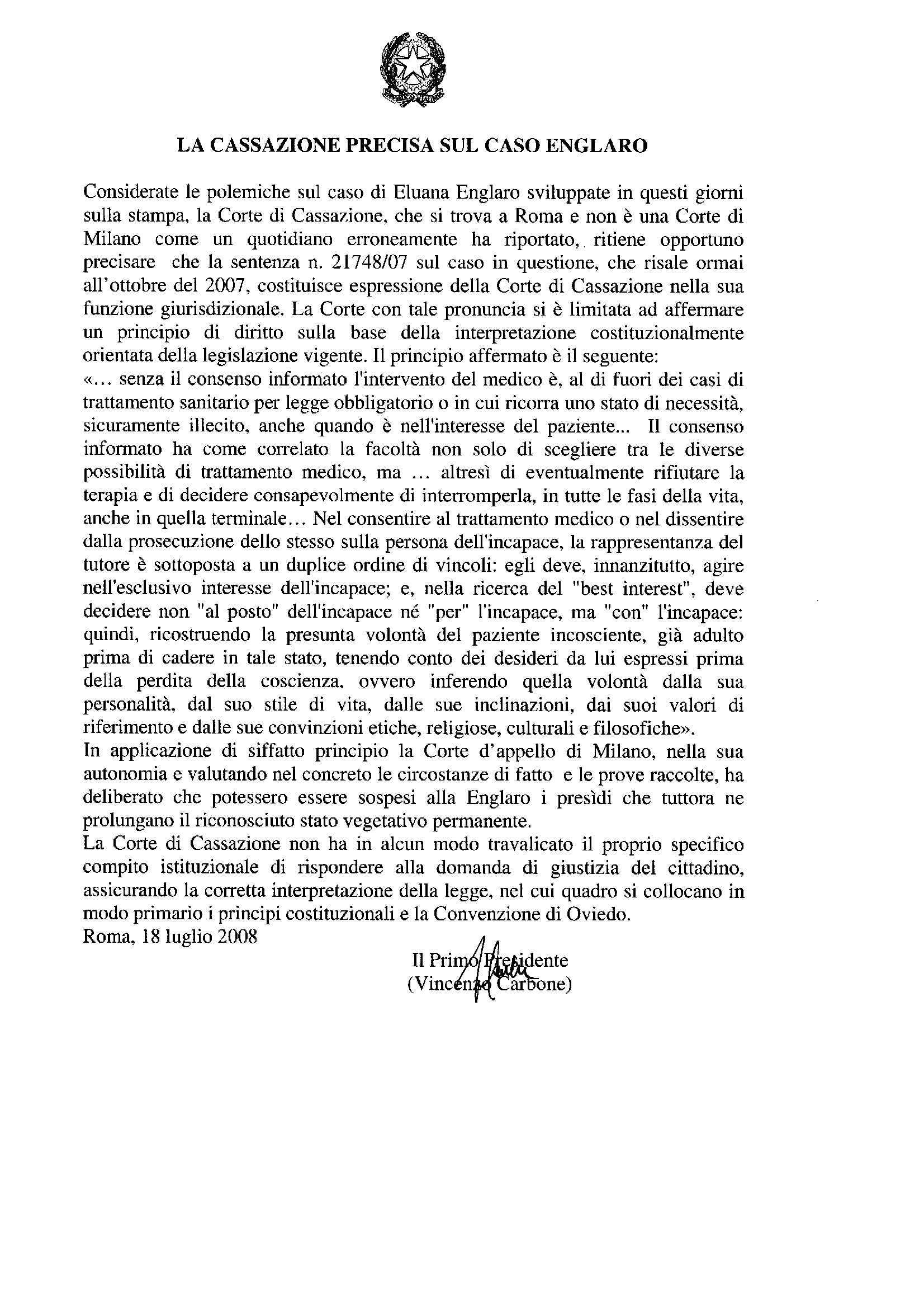 Caso Englaro - Comunicato Corte di Cassazione