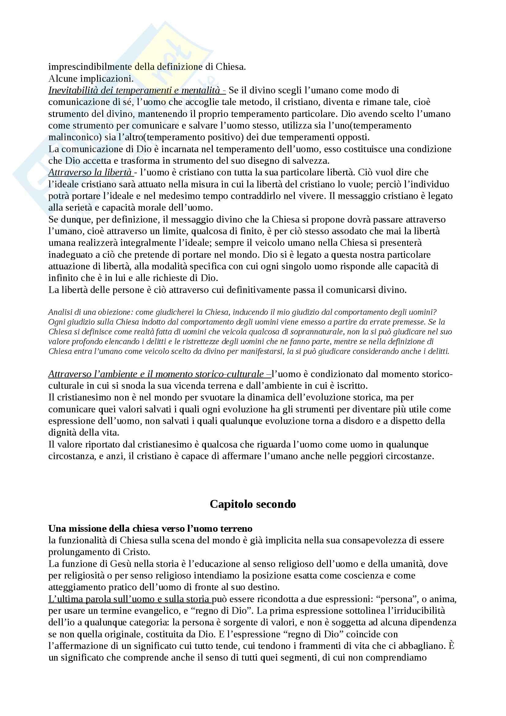 Riassunto esame Teologia, prof. Stefano, libro consigliato Perchè la Chiesa, Giussani Pag. 6