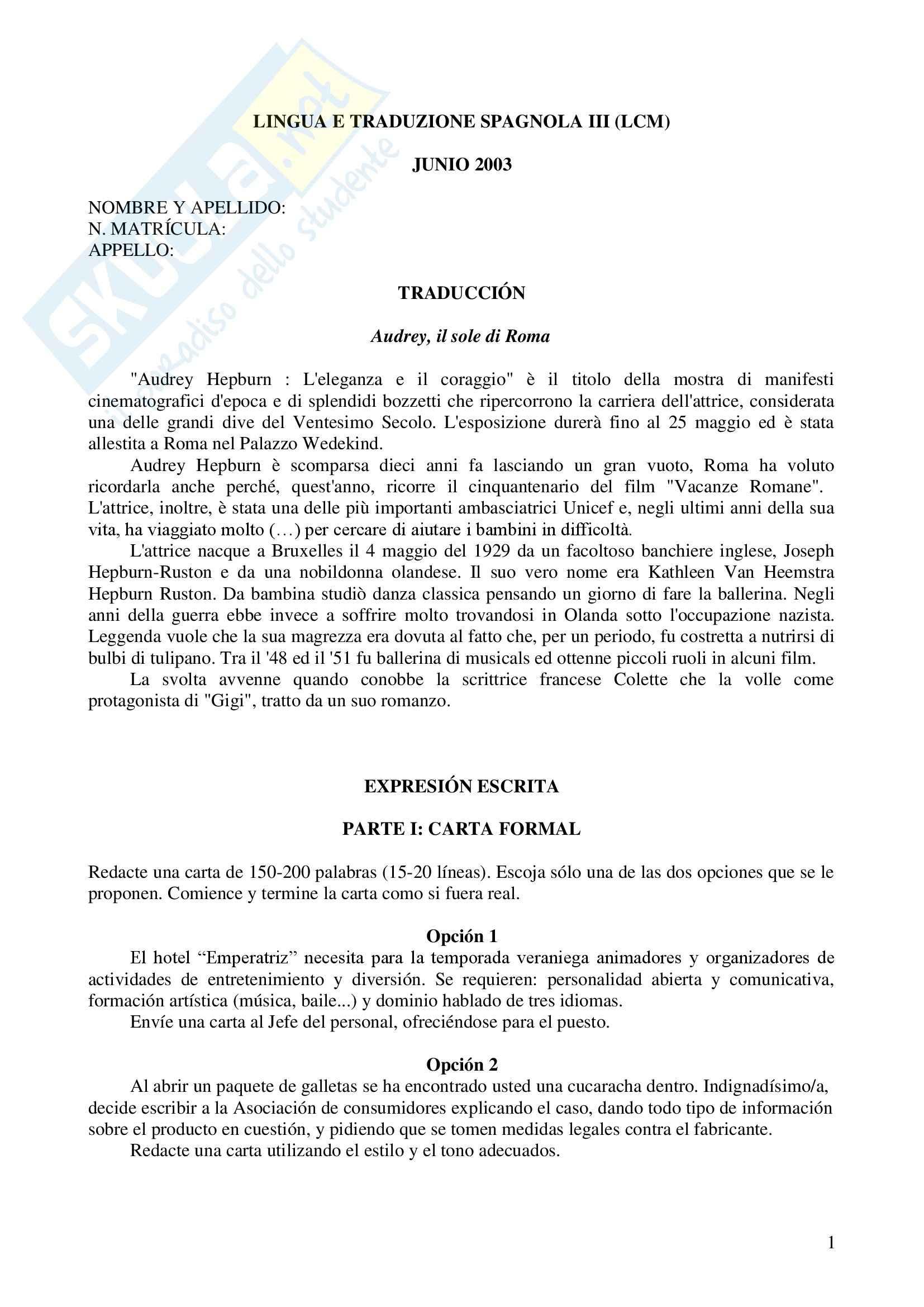 Spagnolo III - Esami