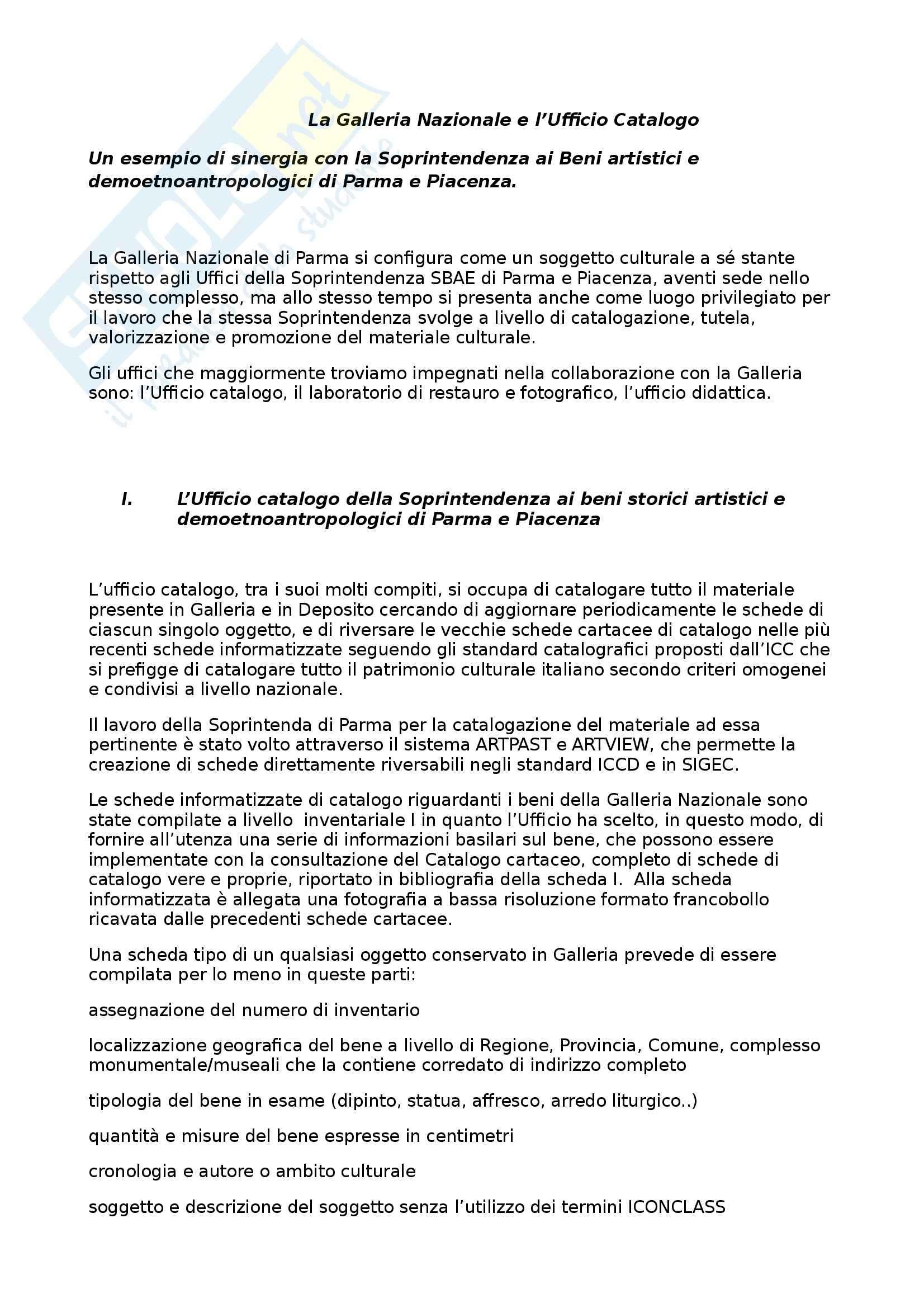 Fondamenti di scienze dell'informazione - la Galleria Nazionale e l'Uffico catalogo
