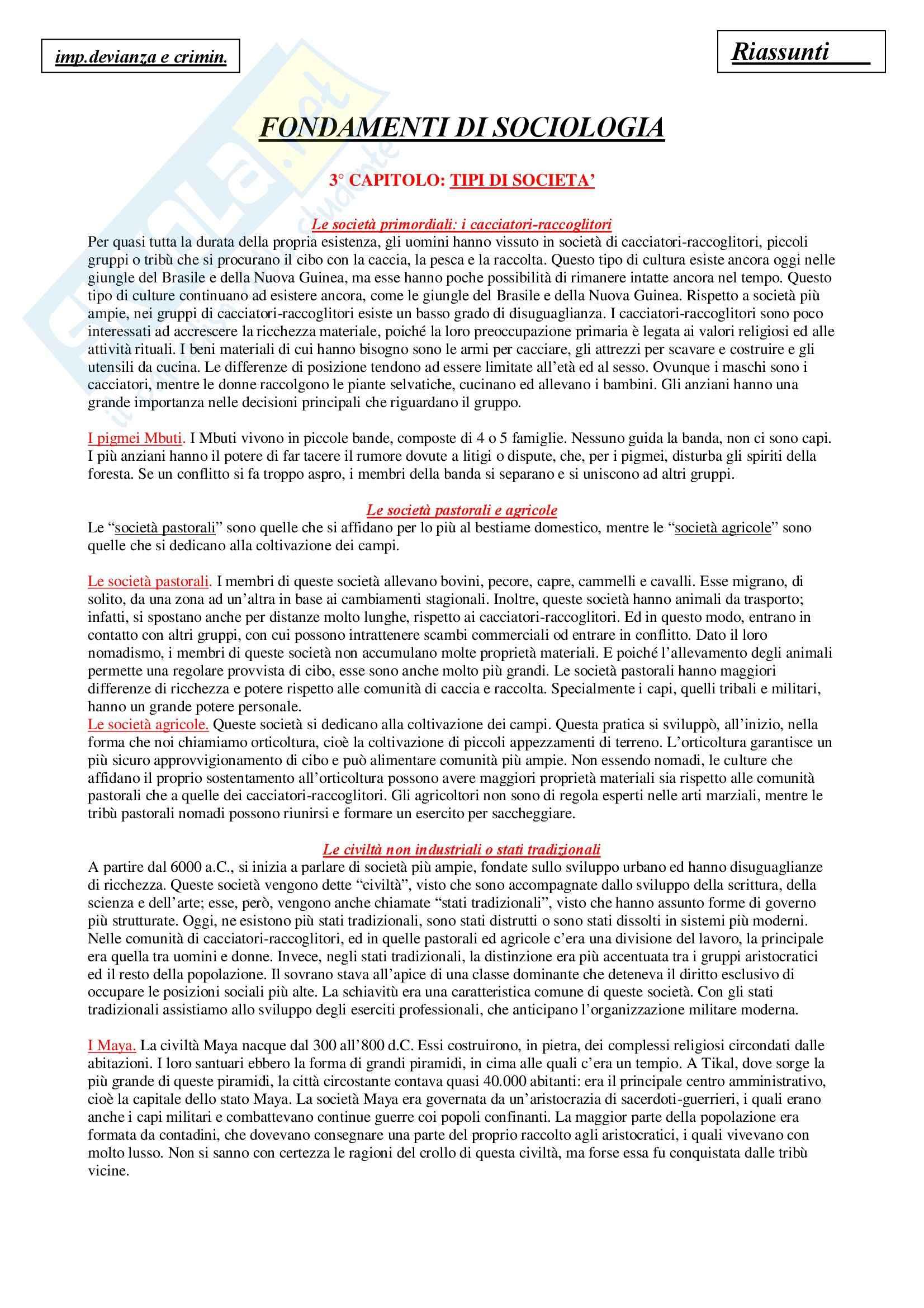 Riassunto esame Sociologia Generale, prof. Di Gennaro, libro consigliato Fondamenti di Sociologia, Giddens