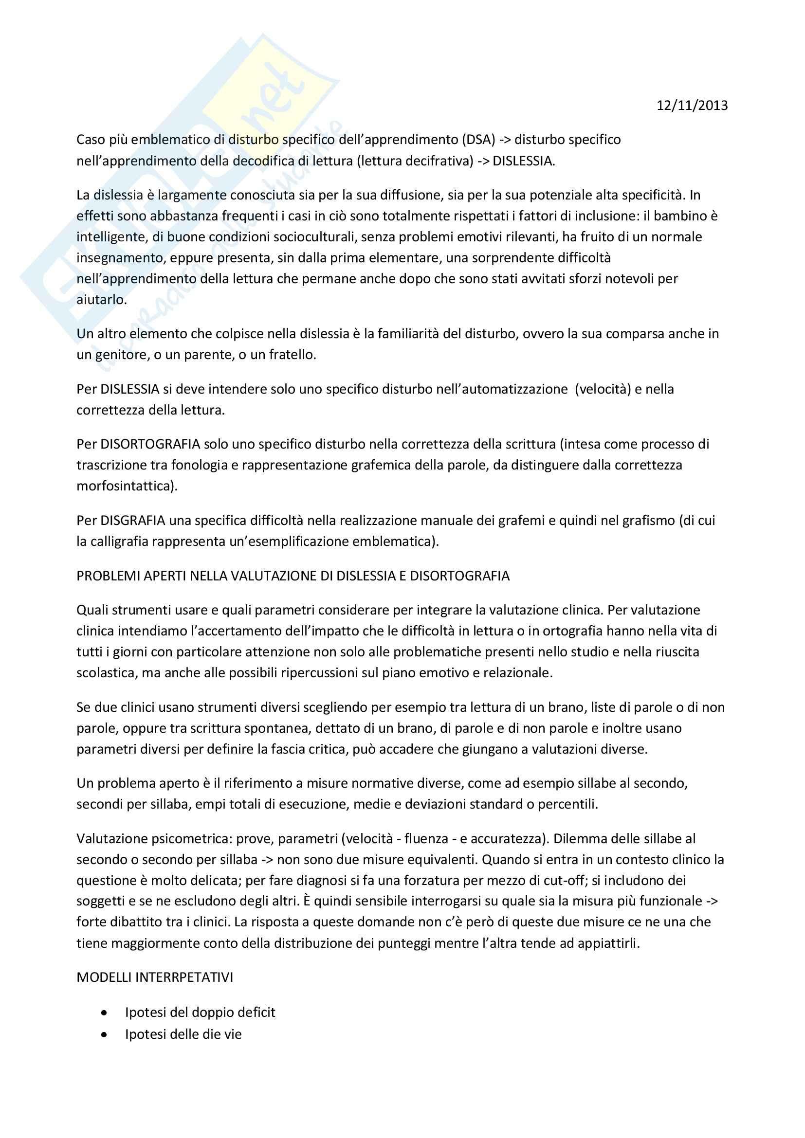 Dislessia: Appunti di Apprendimento e memoria