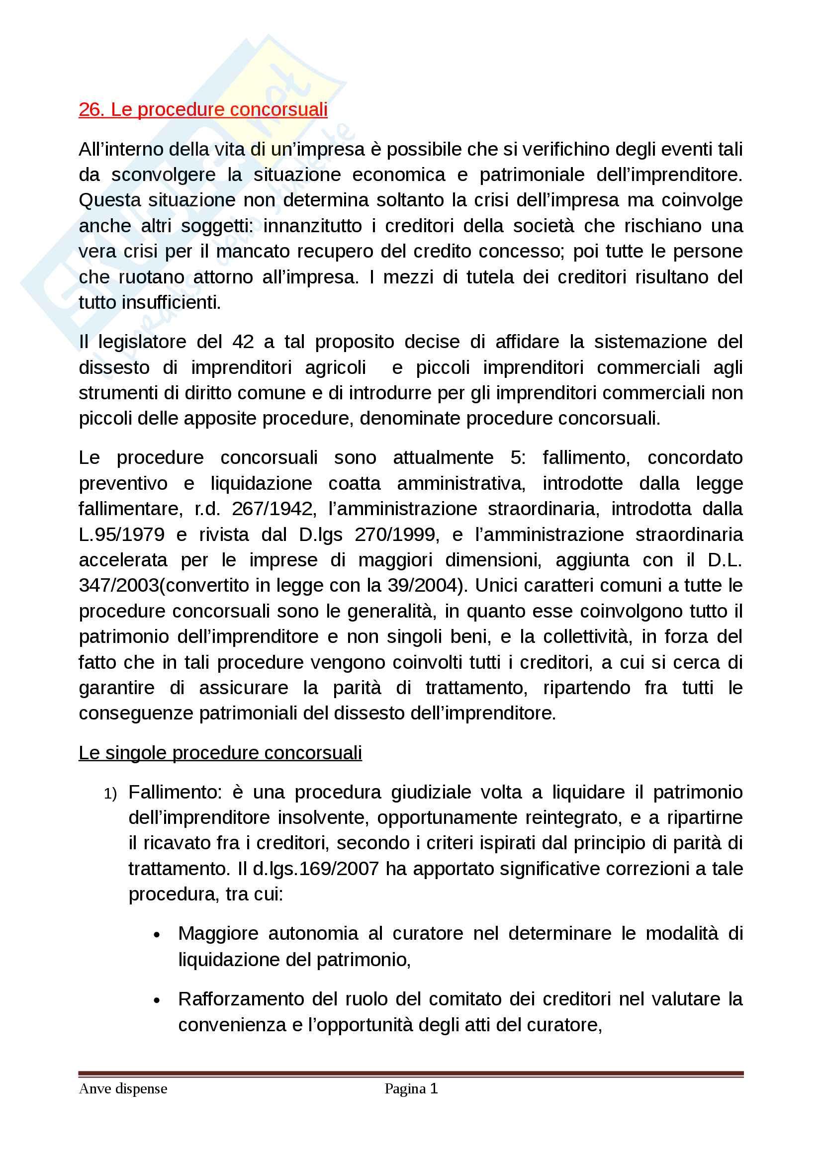 Le procedure concorsuali - diritto commerciale