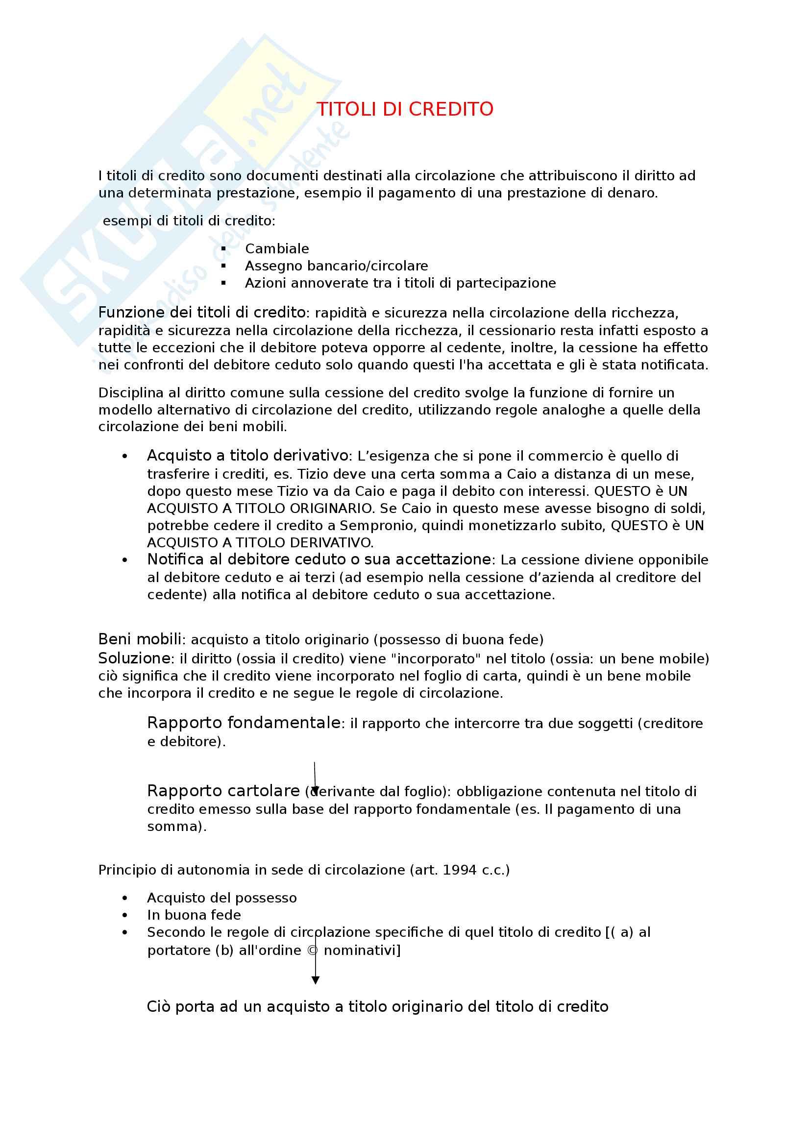 Riassunto esame diritto commerciale, prof Mucciarelli, libro consigliato Manuale di diritto commerciale di Campobasso - parte II: i titoli