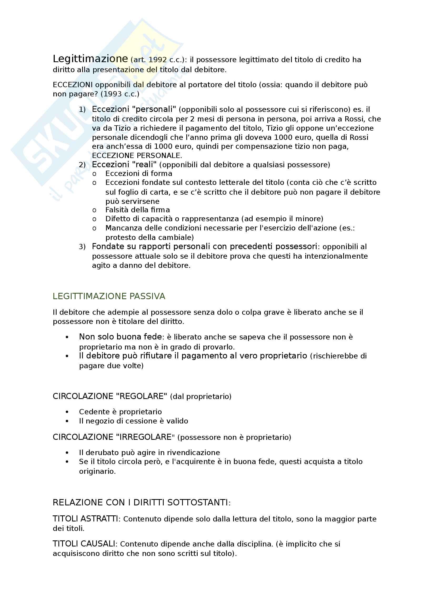Riassunto esame diritto commerciale, prof Mucciarelli, libro consigliato Manuale di diritto commerciale di Campobasso - parte II: i titoli Pag. 2