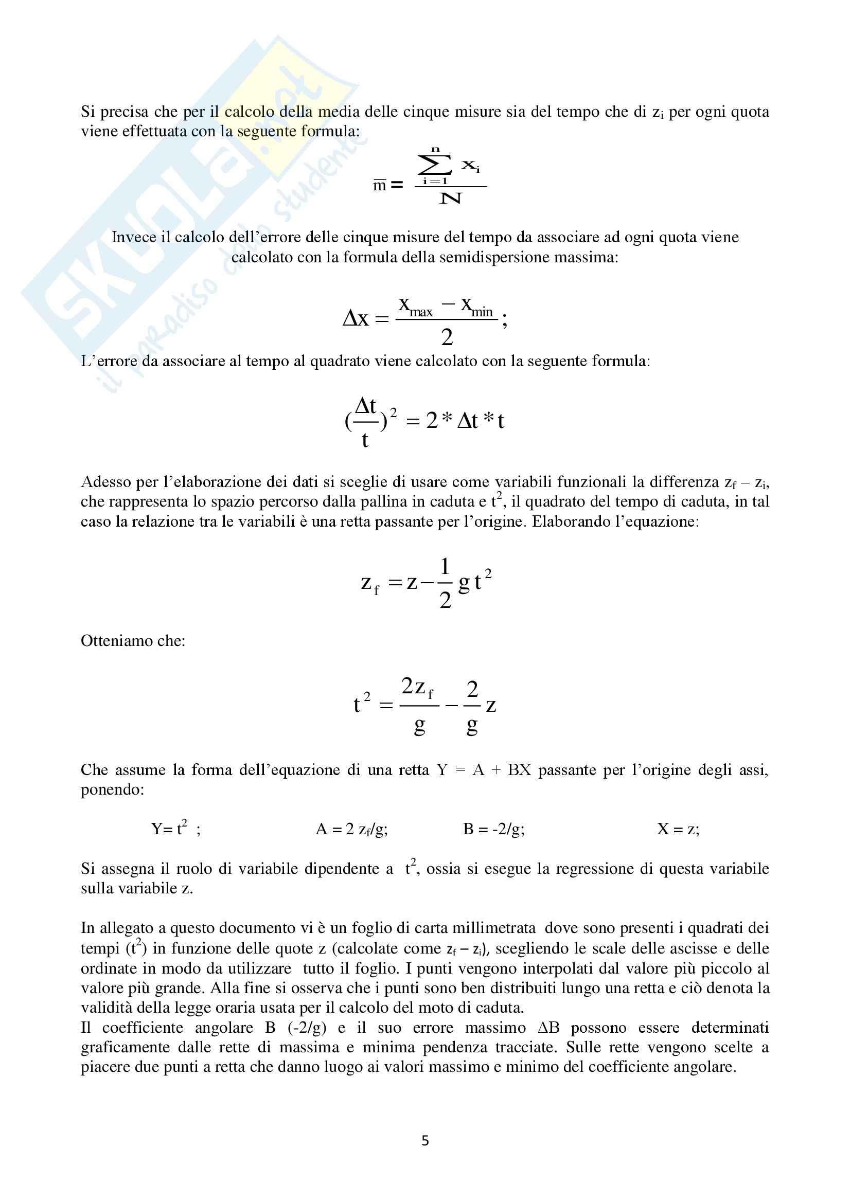 Introduzione alla fisica - studio della legge del moto di caduta libera di un grave Pag. 6