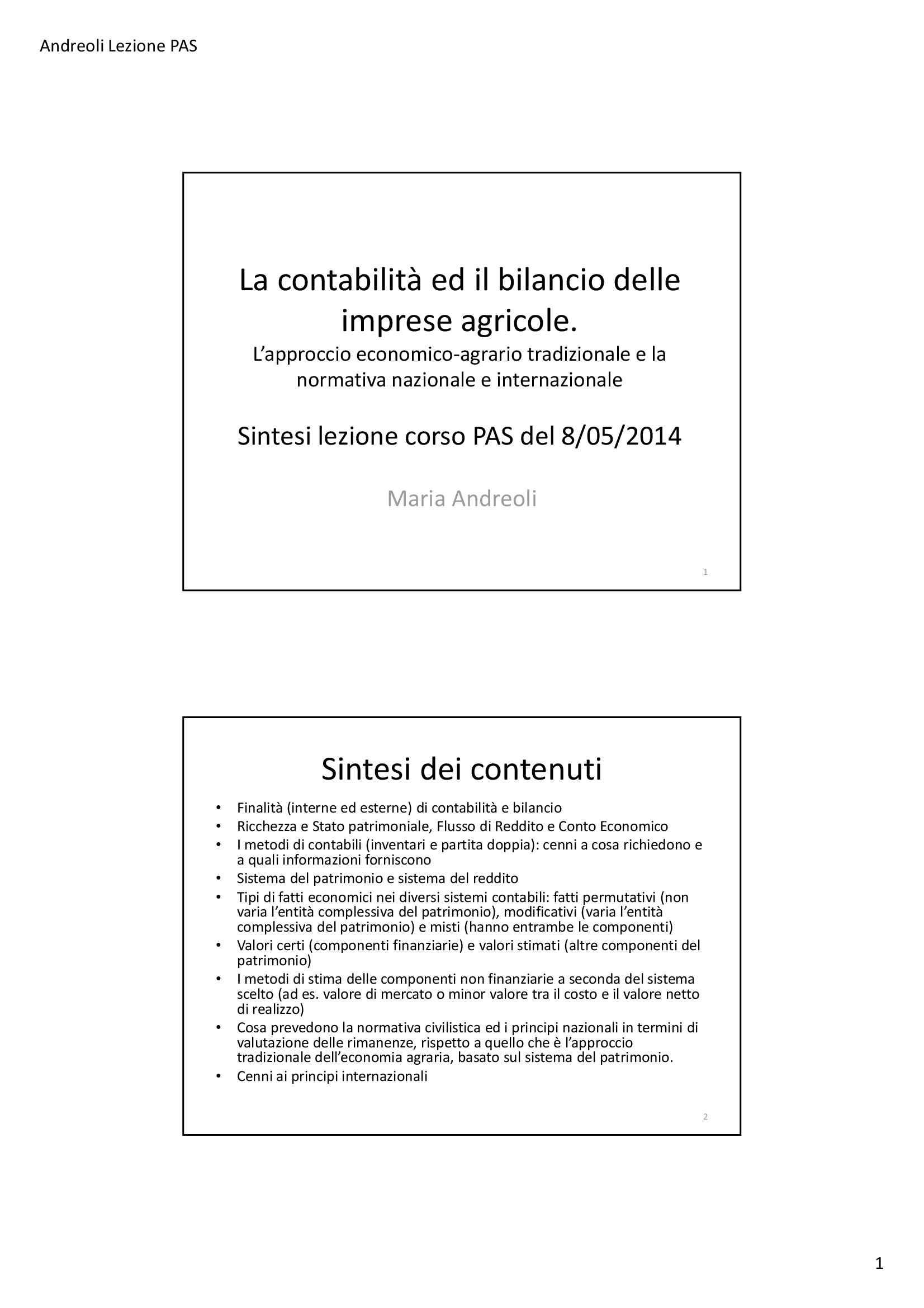 dispensa M. Andreoli Tecniche di gestione economica ed estimative dell'agro-ecosistema