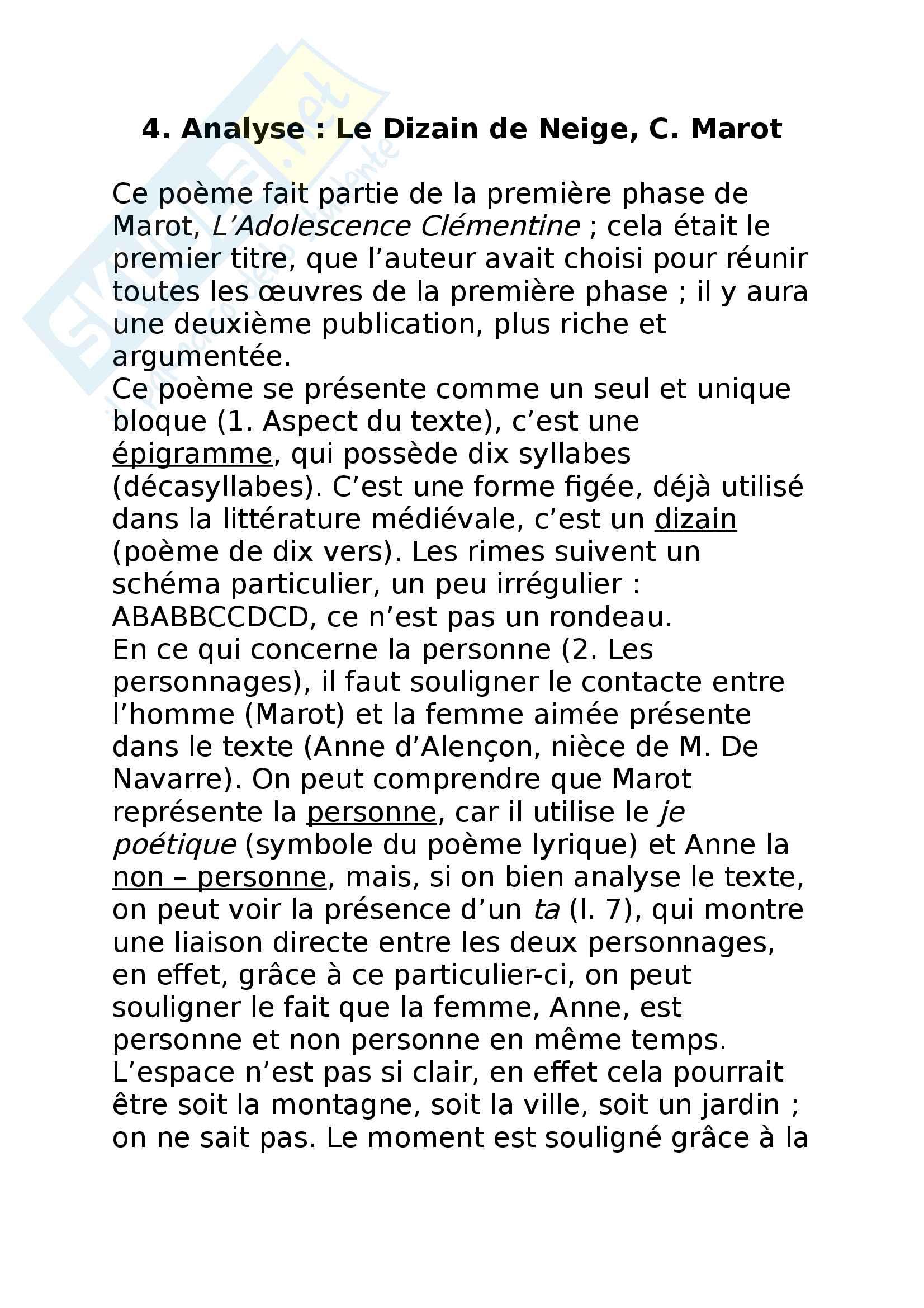4. Analyse - Le Dizain de Neige, C. Marot
