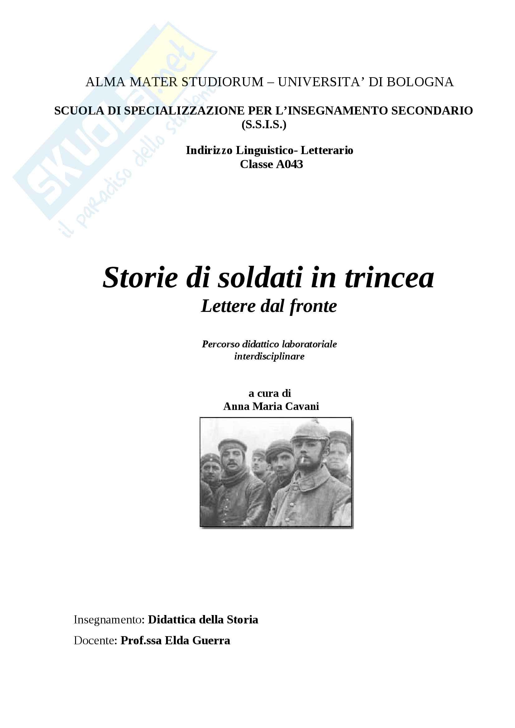Soldati in trincea durante la prima guerra mondiale - Unità didattica - Percorso laboratoriale di didattica della storia per la terza media