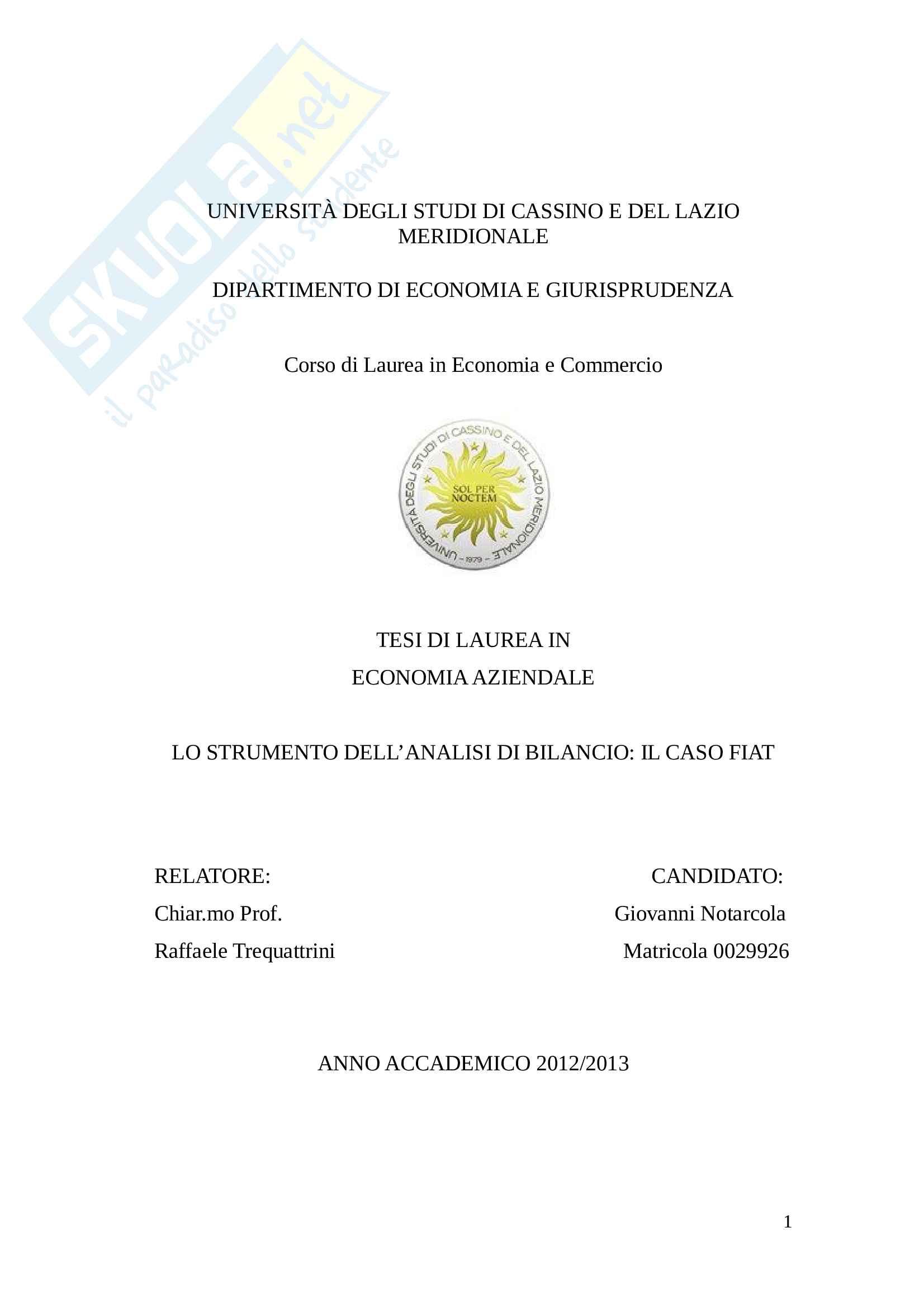 Tesi - Lo strumento dell'analisi di bilancio: il caso Fiat