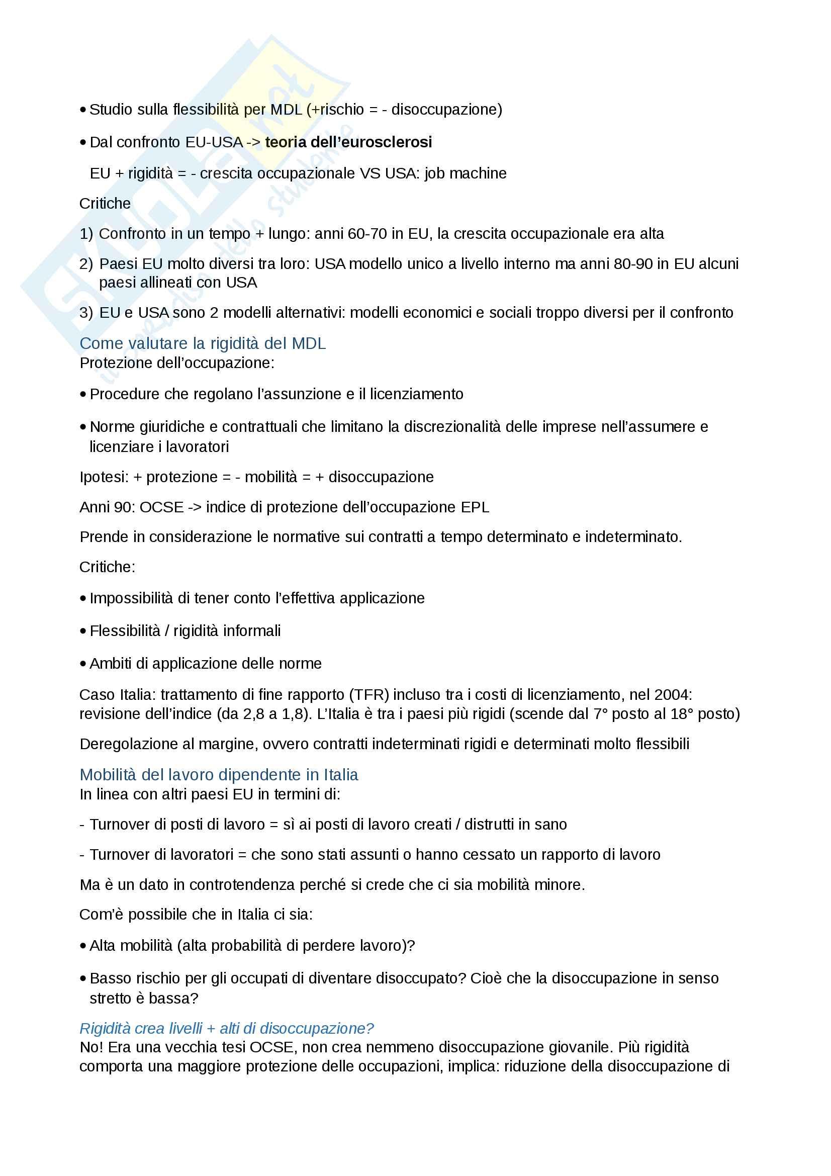 Riassunto esame Sociologia del mercato del lavoro, Docente Fullin, libro consigliato Sociologia del mercato del lavoro, vol. 1. e vol. 2. , Reyneri Pag. 21
