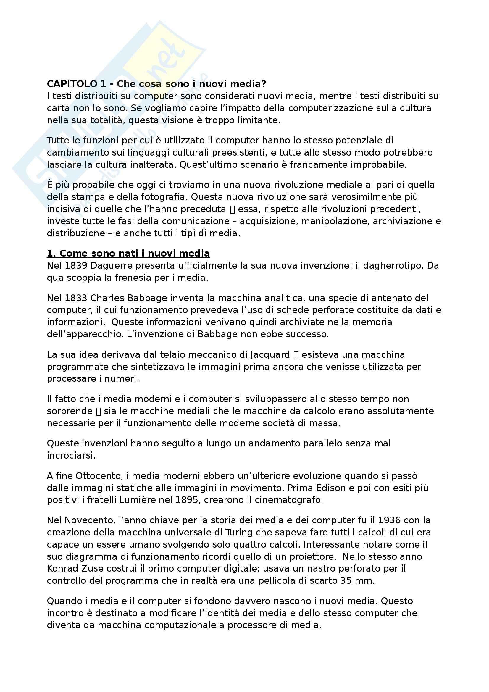 Riassunto esame Mass Media, New Media e Società delle Reti, prof. Pireddu, libro consigliato Il Linguaggio dei Nuovi Media di Manovich