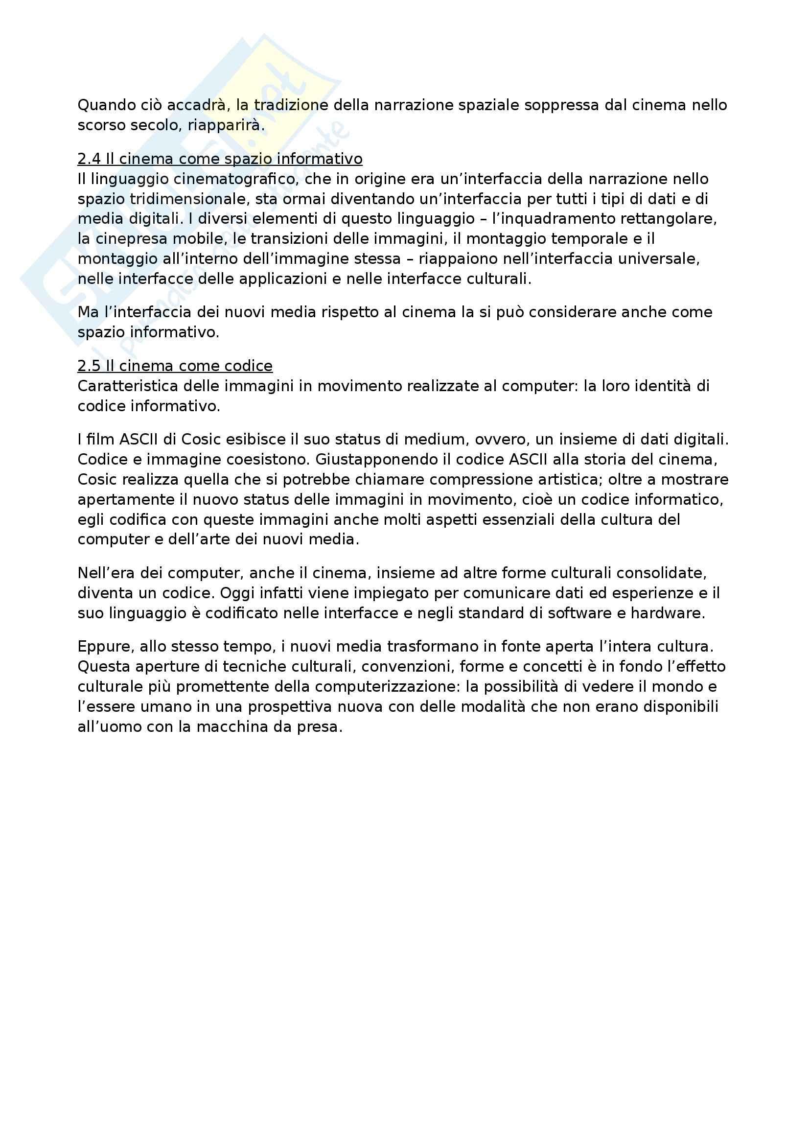 Riassunto esame Mass Media, New Media e Società delle Reti, prof. Pireddu, libro consigliato Il Linguaggio dei Nuovi Media di Manovich Pag. 41