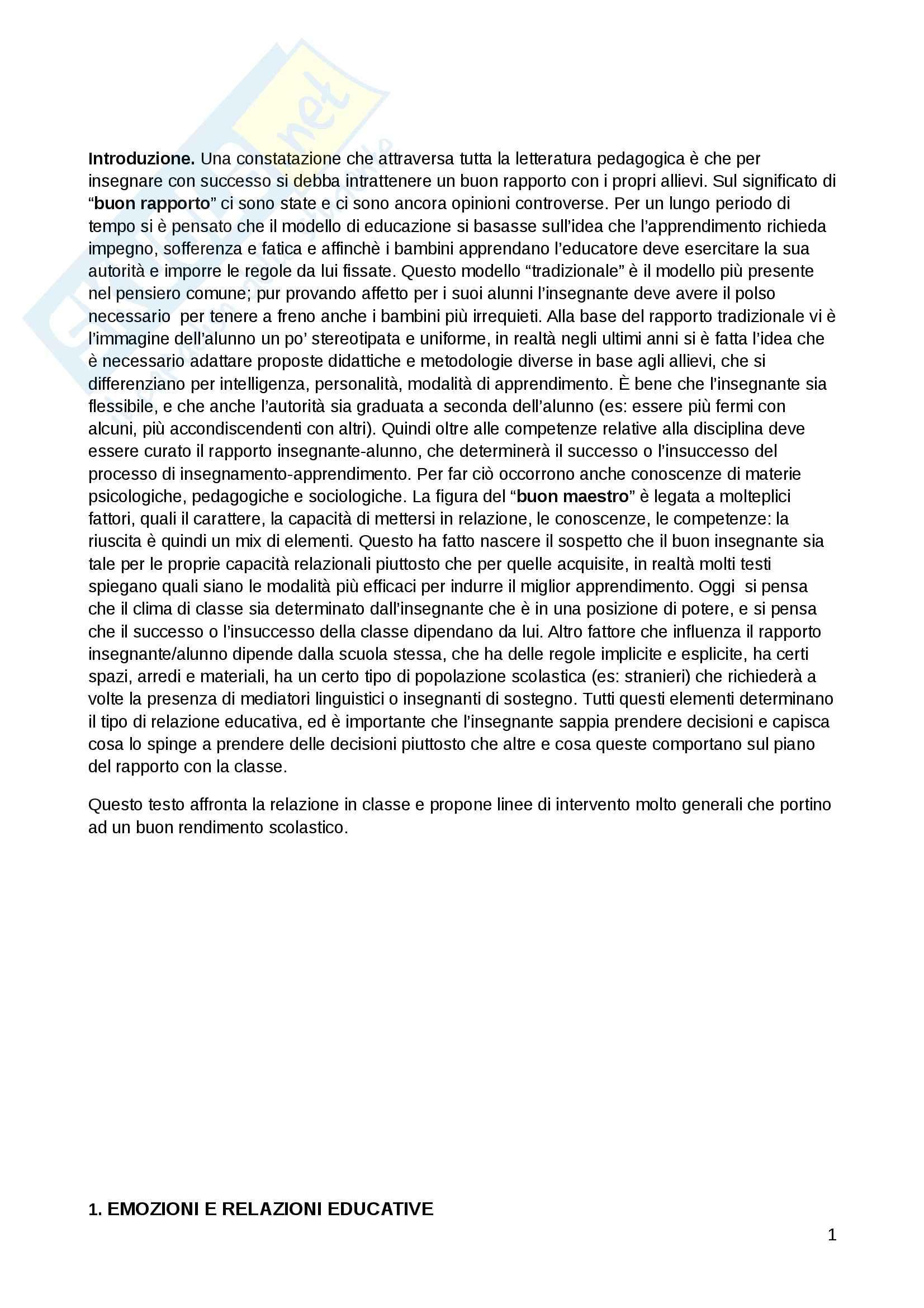 Riassunto esame Pedagogia generale, prof. Kanizsa, libro consigliato Il lavoro educativo