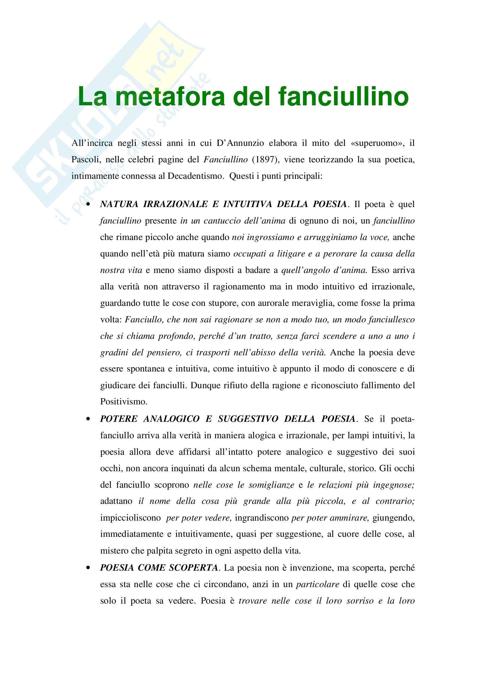 Letteratura italiana dell'età romantica - Pascoli e la metafora del fanciullino