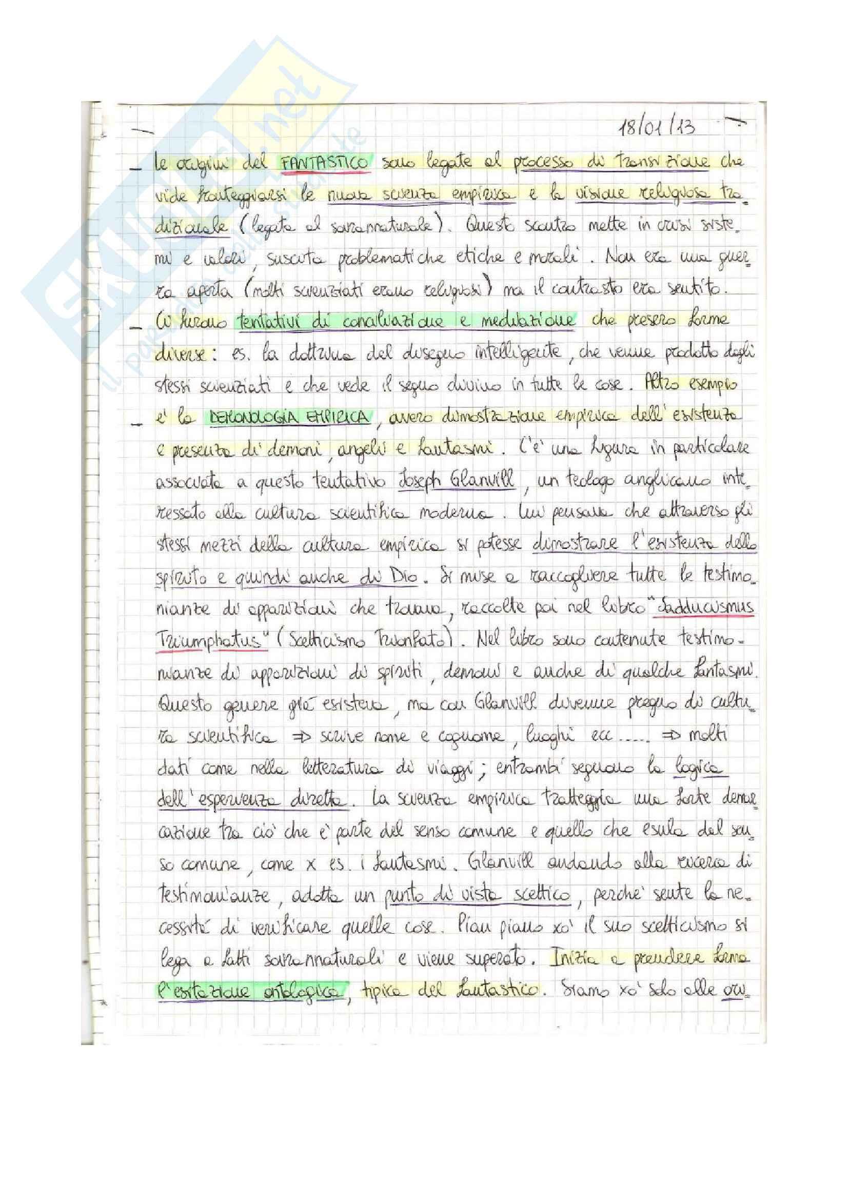 Letteratura Inglese-Il Fantastico