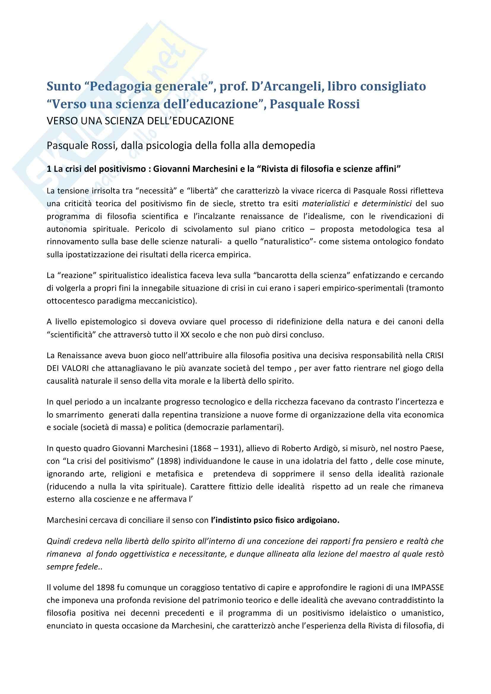Riassunto esame Pedagogia generale, prof. D'Arcangeli, libro consigliato Verso una scienza dell'educazione, Rossi