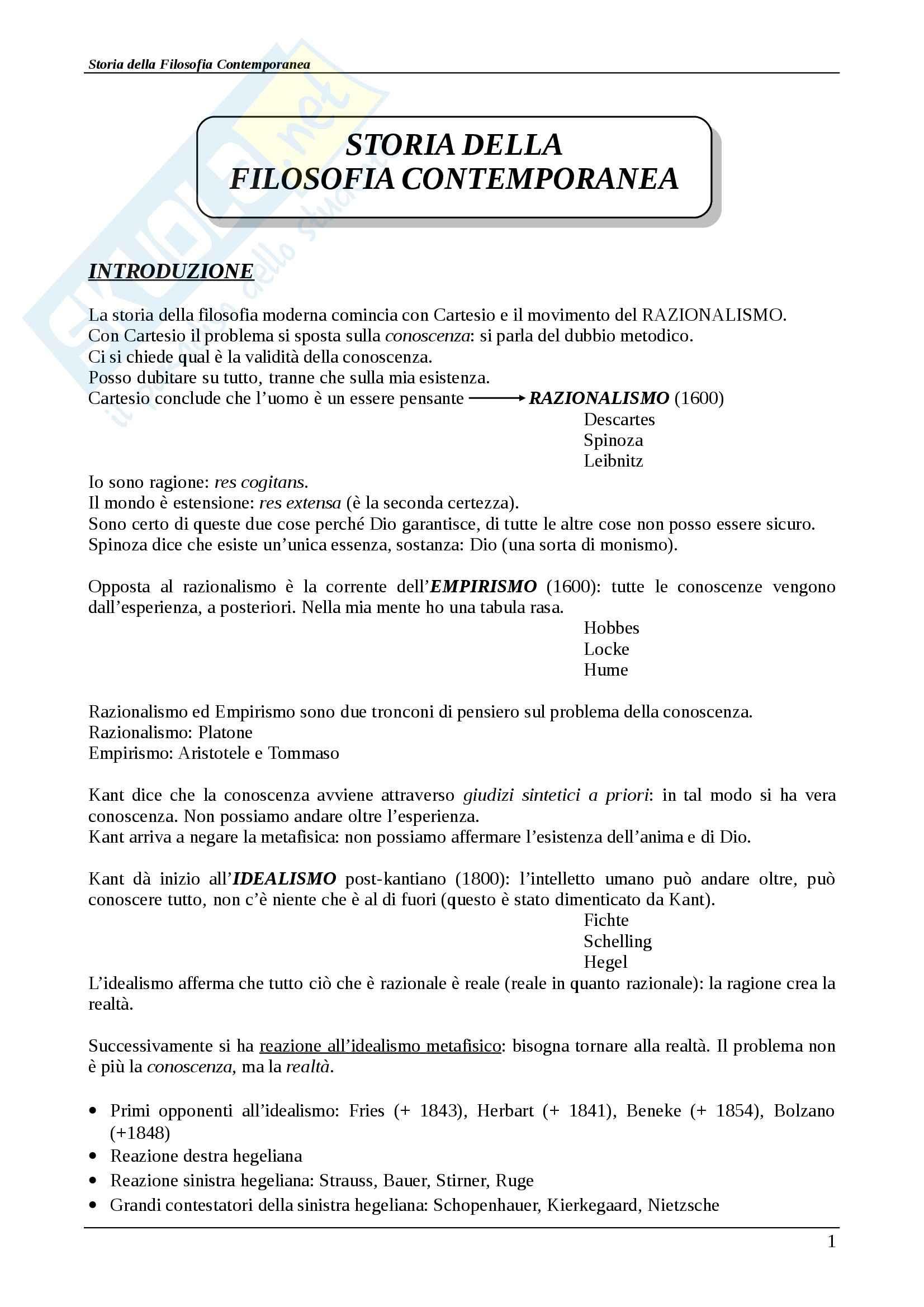 Riassunto esame Storia della filosofia contemporanea, Storia della filosofia contemporanea, Abbagnano/Fornero, prof. Scaria