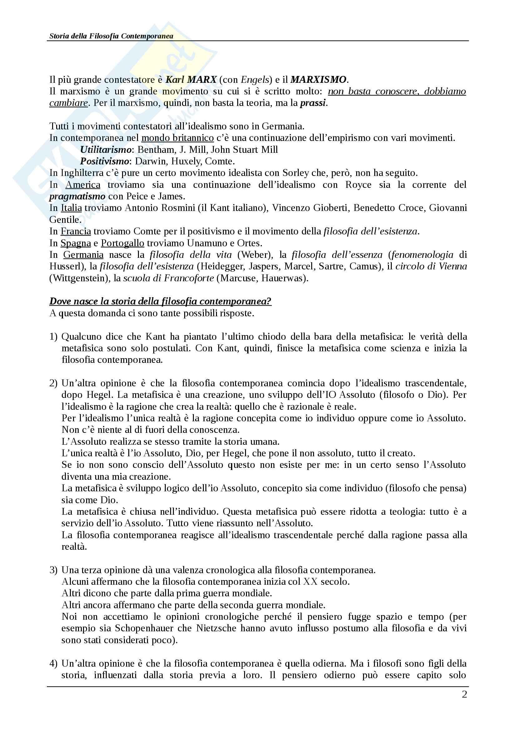 Riassunto esame Storia della filosofia contemporanea, Storia della filosofia contemporanea, Abbagnano/Fornero, prof. Scaria Pag. 2