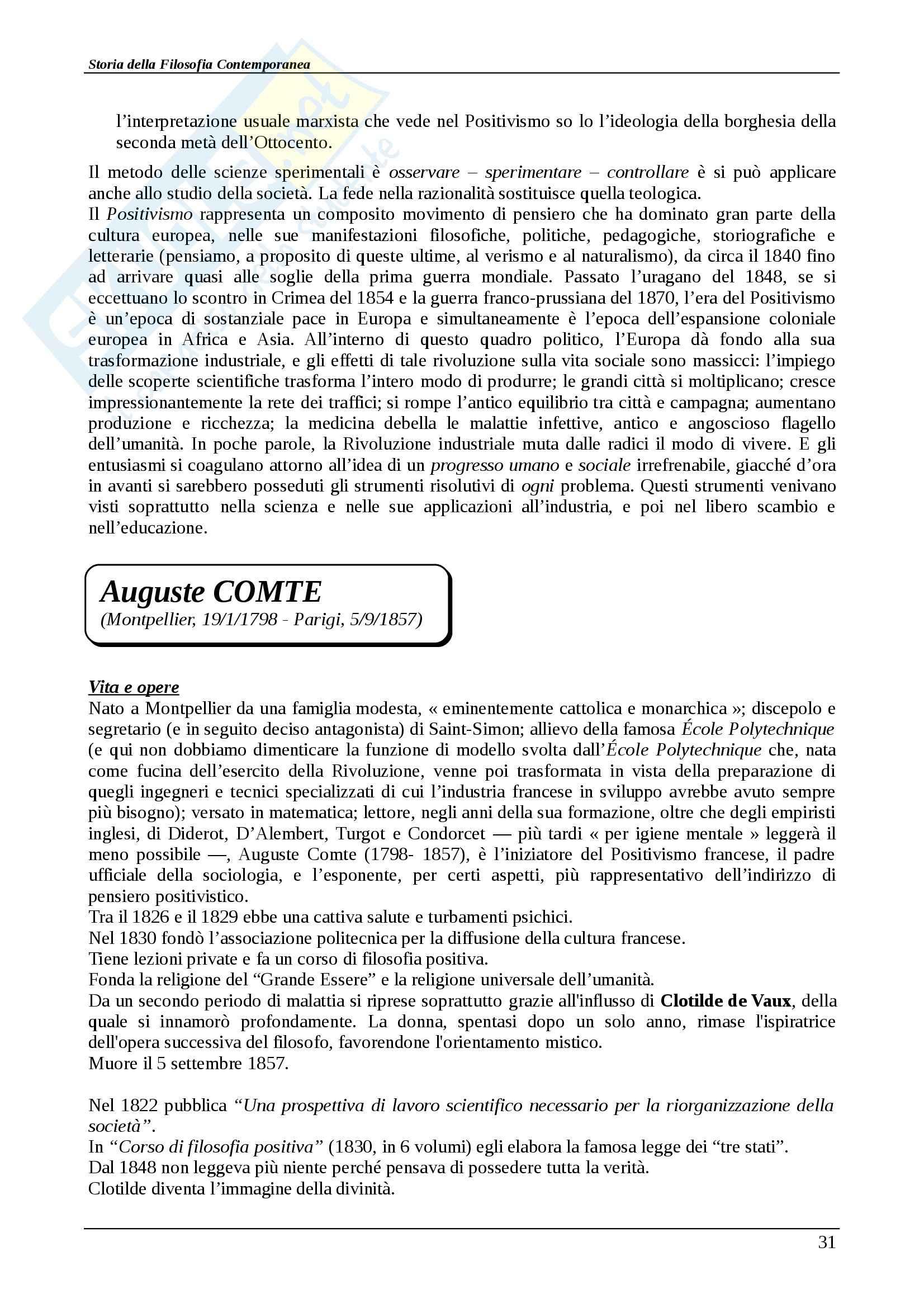 Riassunto esame Storia della filosofia contemporanea, Storia della filosofia contemporanea, Abbagnano/Fornero, prof. Scaria Pag. 31