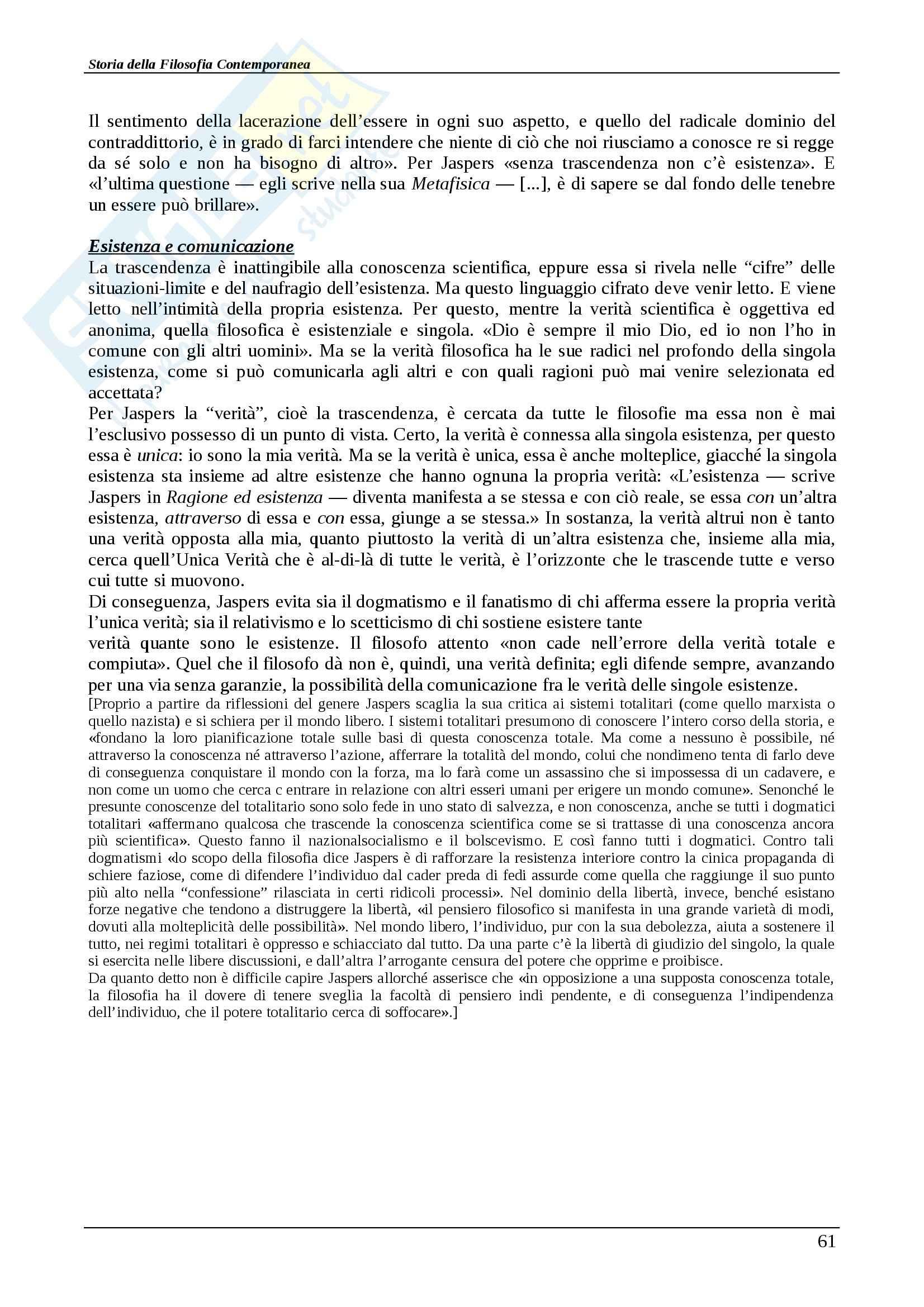 Riassunto esame Storia della filosofia contemporanea, Storia della filosofia contemporanea, Abbagnano/Fornero, prof. Scaria Pag. 61