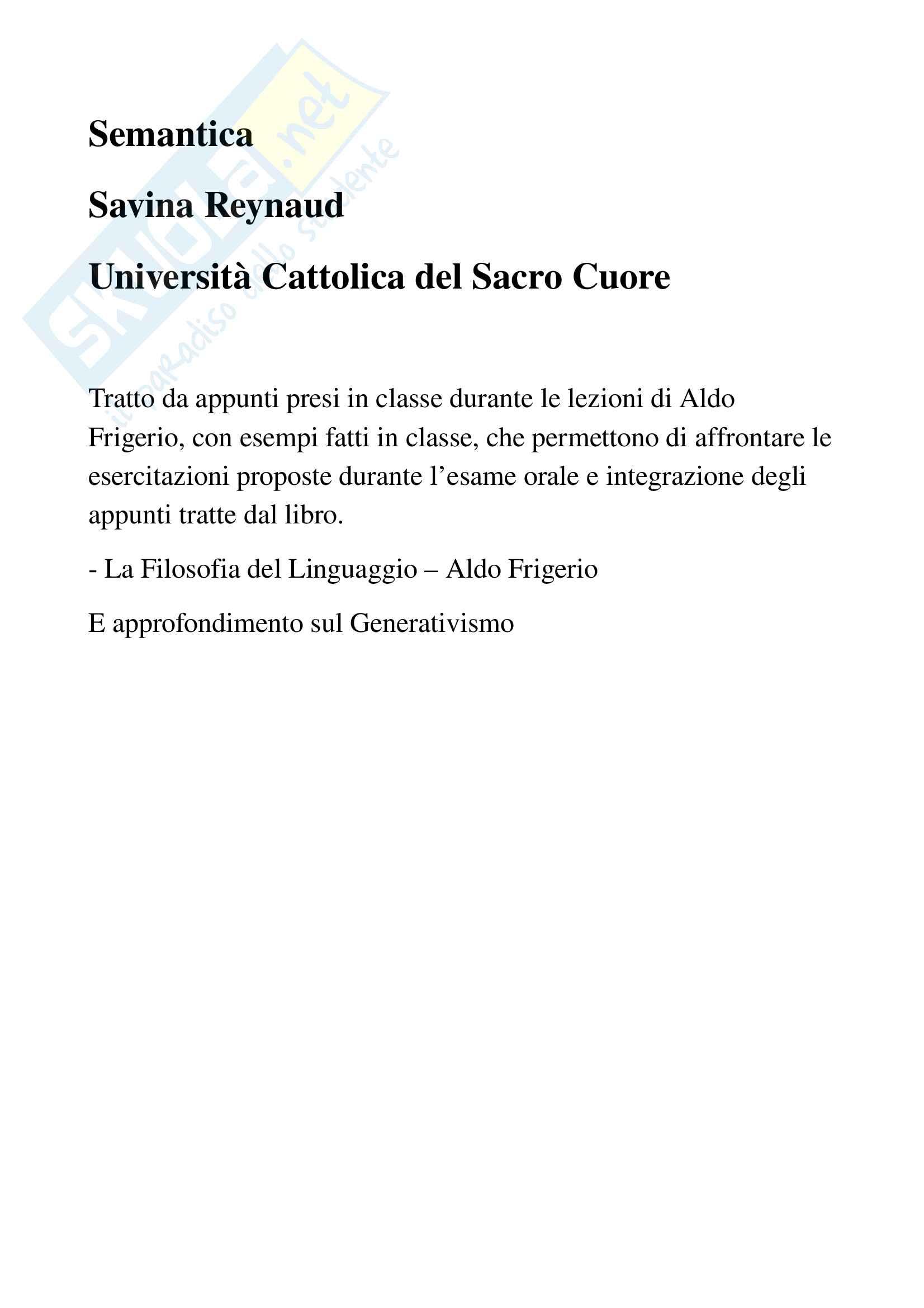 Appunti e riassunti di Semantica, prof. Reynaud, libro consigliato Filosofia del Linguaggio, Aldo Frigerio