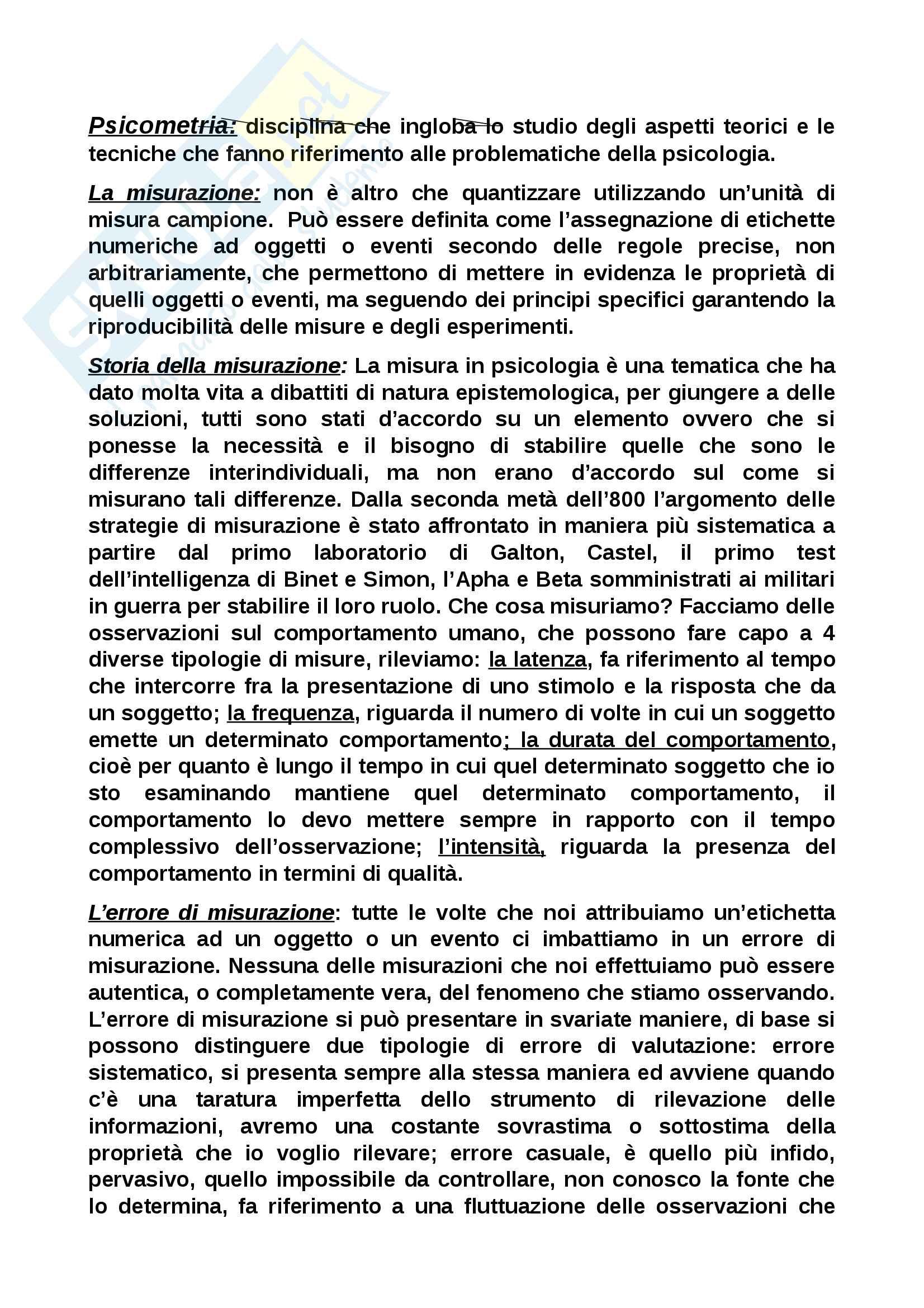Riassunto esame Fondamenti di psicometria, prof. Faraci, libro consigliato introduzione alla psicometria, Primi, Chiesi