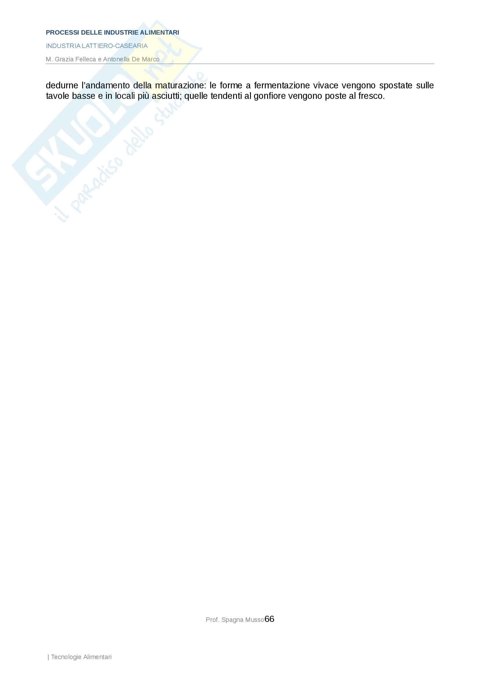 Processi delle industrie alimentari - industria lattiero casearia Pag. 66
