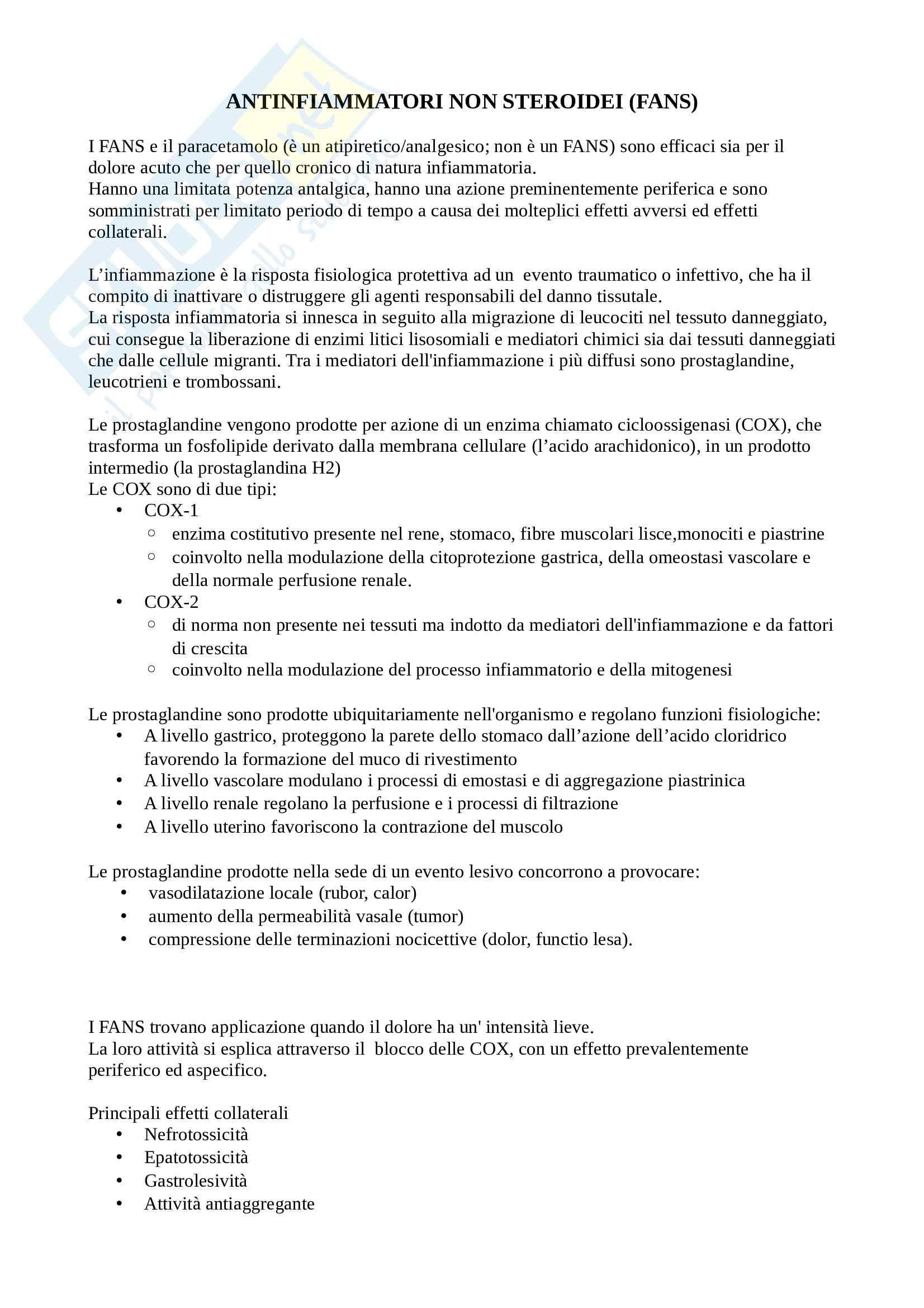 Antinfiammatori non steroidei (FANS)