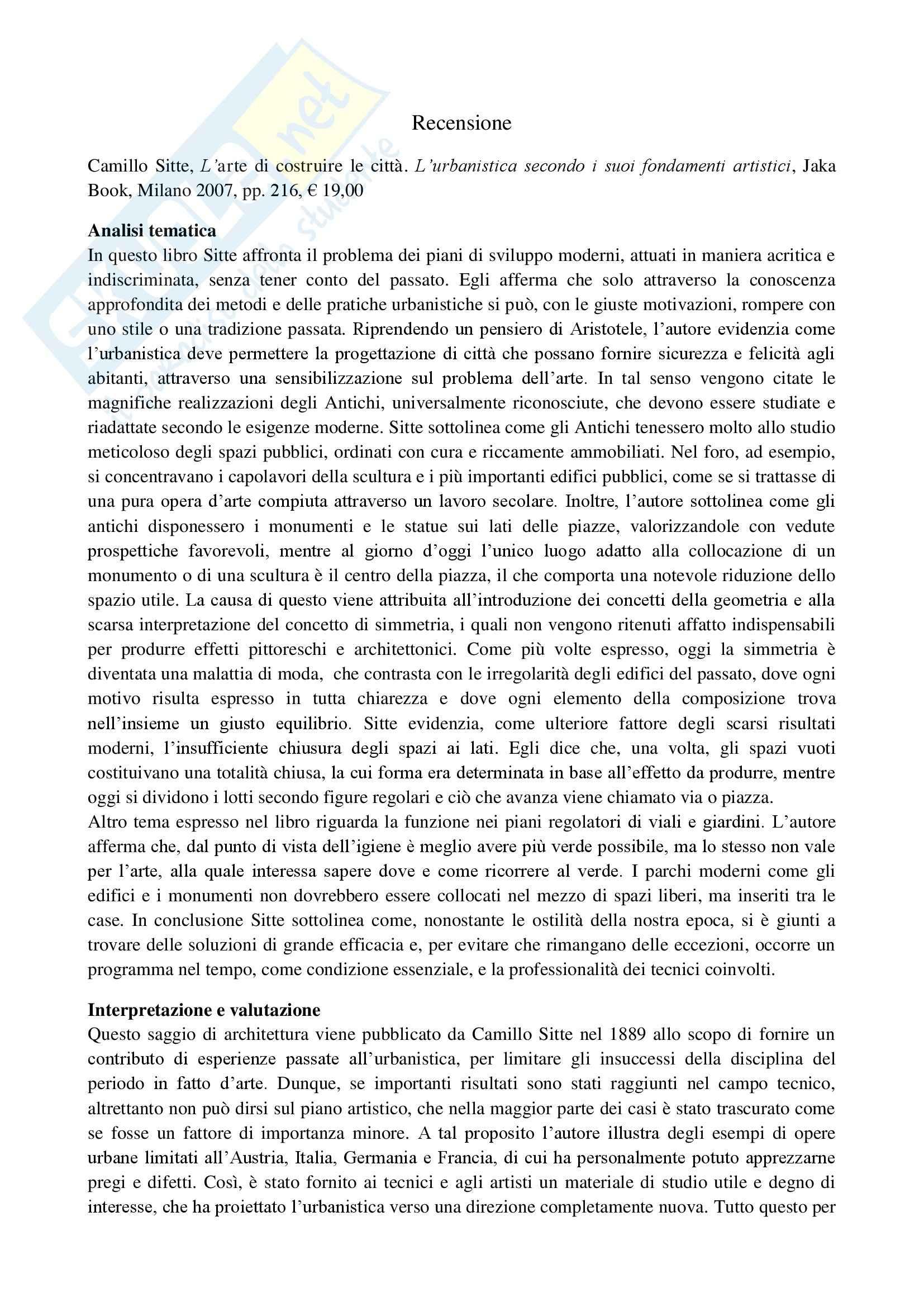 Urbanistica - Camillo Sitte e L'arte di costruire la citta
