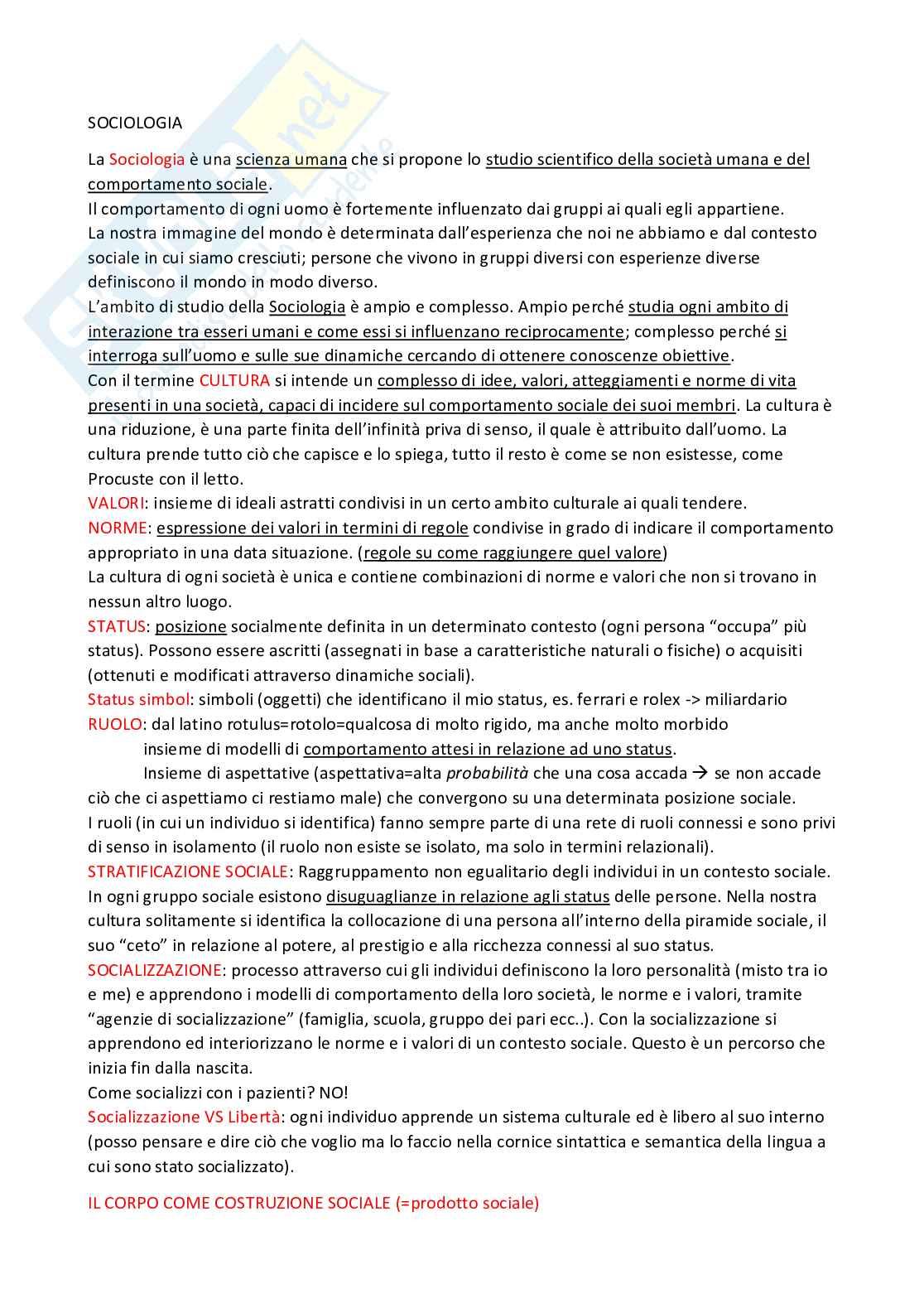 Riassunto di sociologia Pag. 1