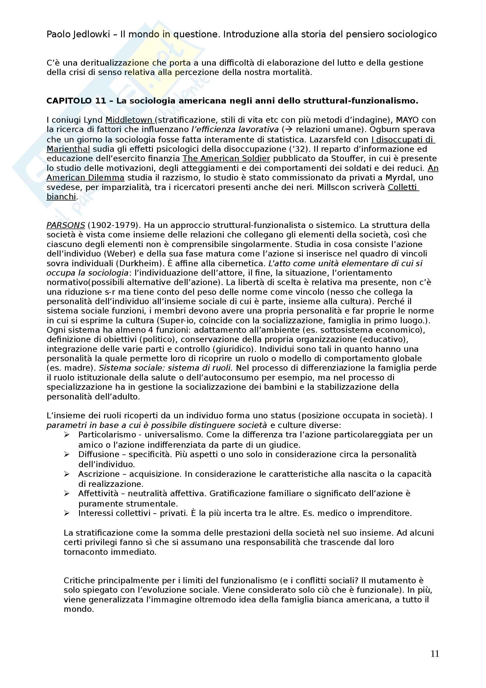 Riassunto esame Storia del pensiero sociologico, prof. Bonino, libro consigliato Il mondo in questione, Jedlowski Pag. 11