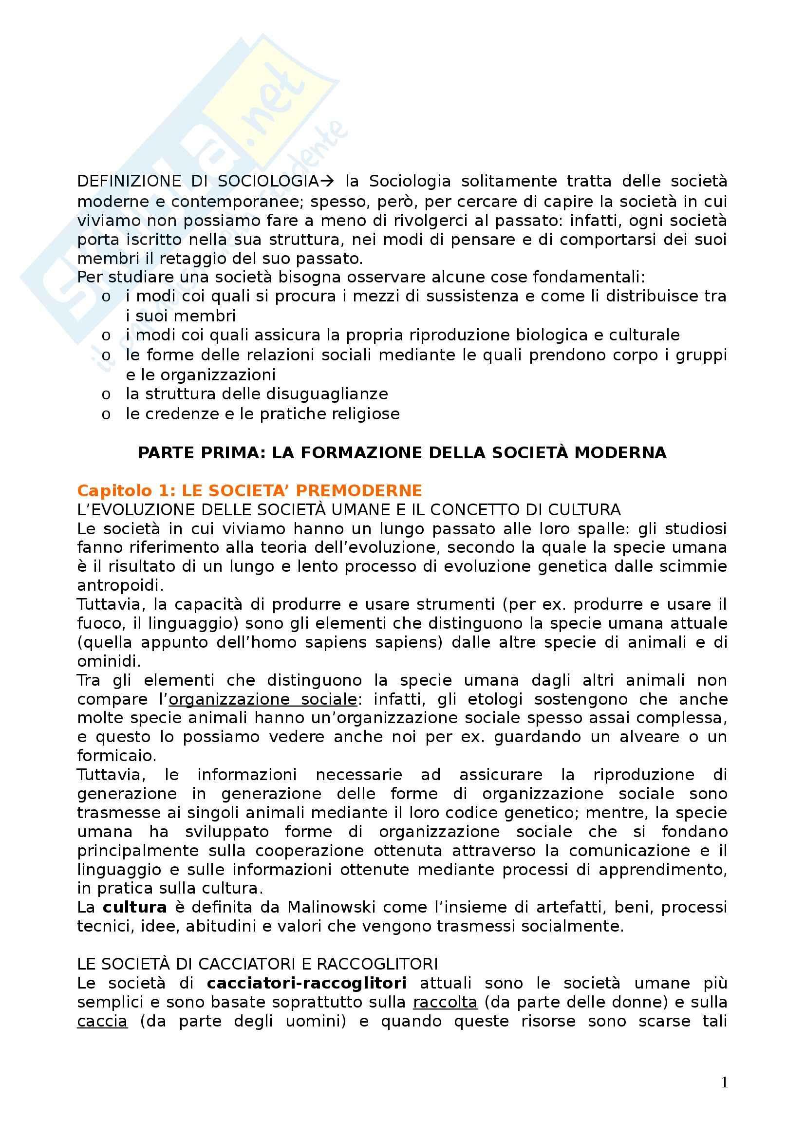 Riassunto esame Sociologia, prof. Dino, libro consigliato Corso di Sociologia di Bagnasco, Barbaglie e Cavalli