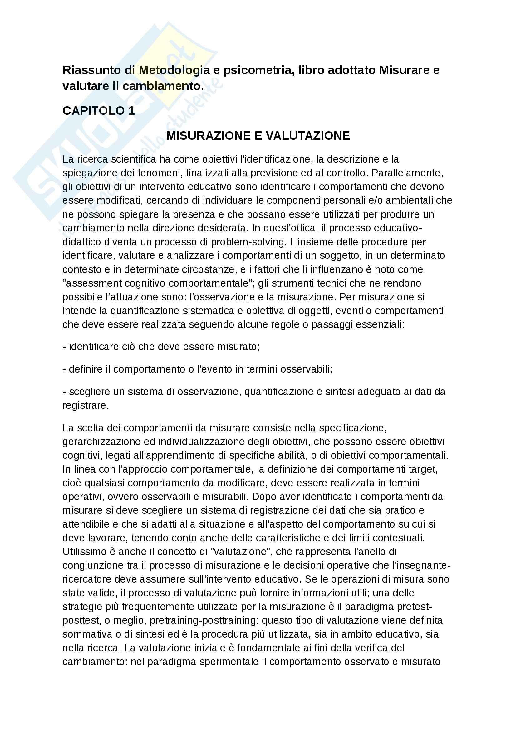 Riassunto esame Metodologia, prof. Cuzzocrea, libro consigliato Misurare e valutare il cambiamento, Larcan