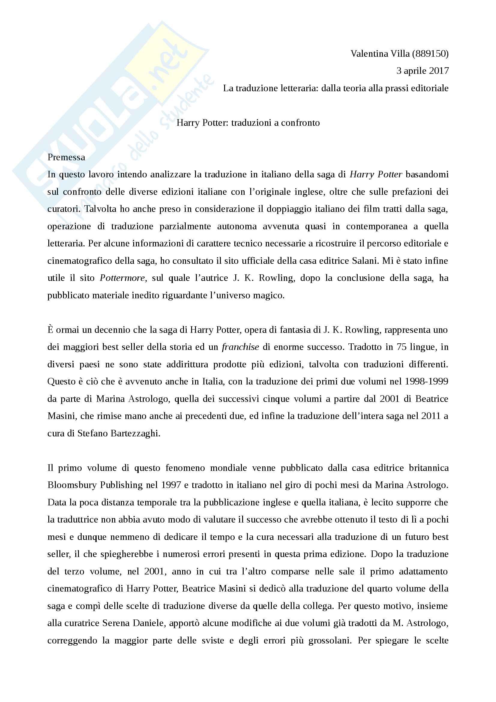 Relazione traduzione Harry Potter