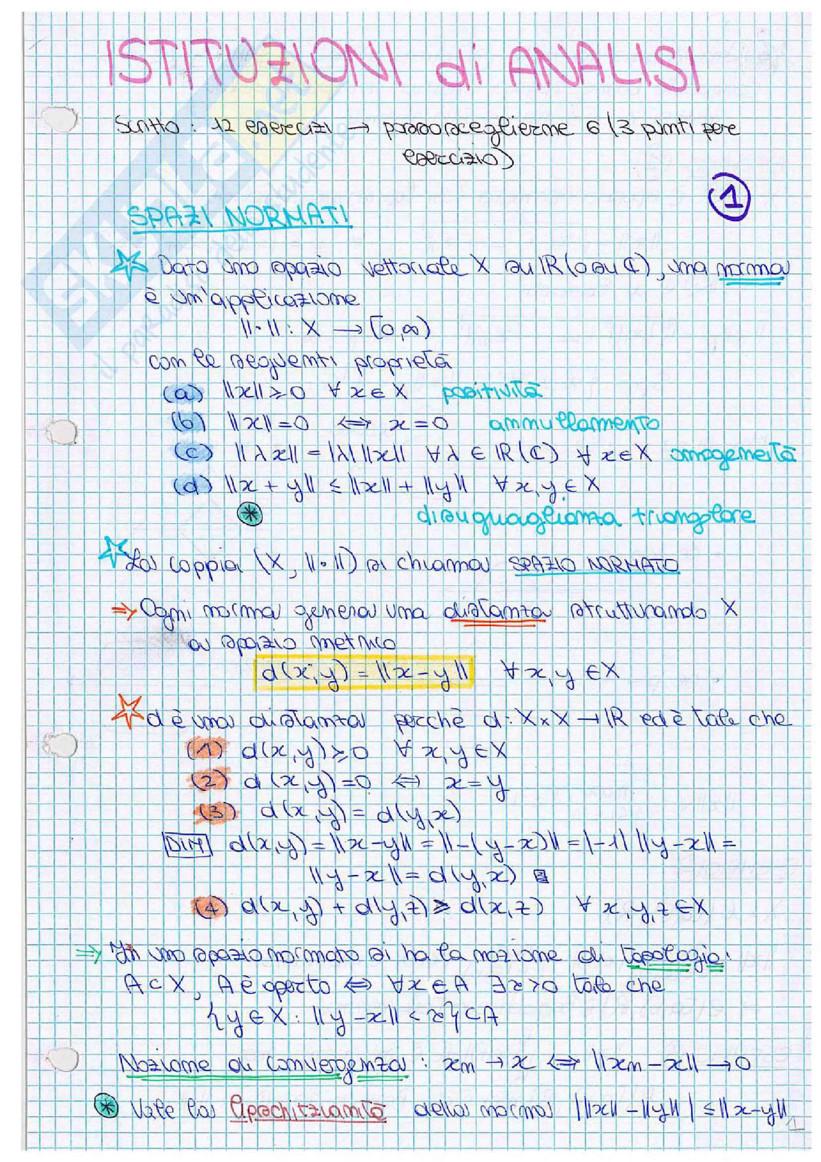 Istituzioni di analisi matematica, appunti ed esercitazioni