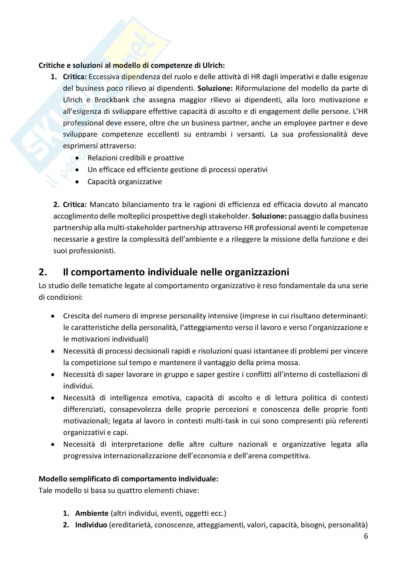 Organizzazione e gestione delle risorse umane - Gabriele Gabrielli Pag. 6