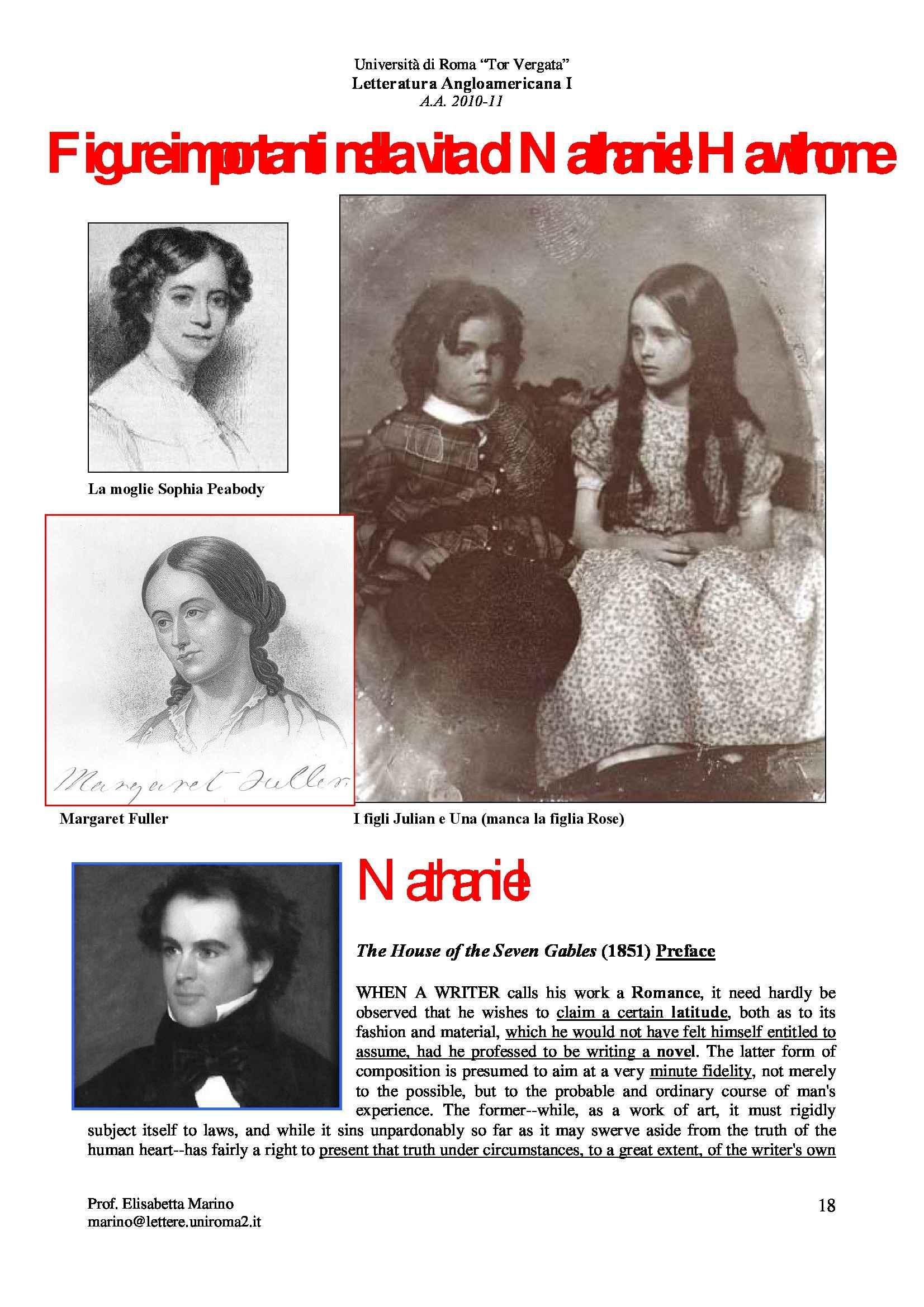 Letteratura anglo-americana I - Nathaniel Hawthorne